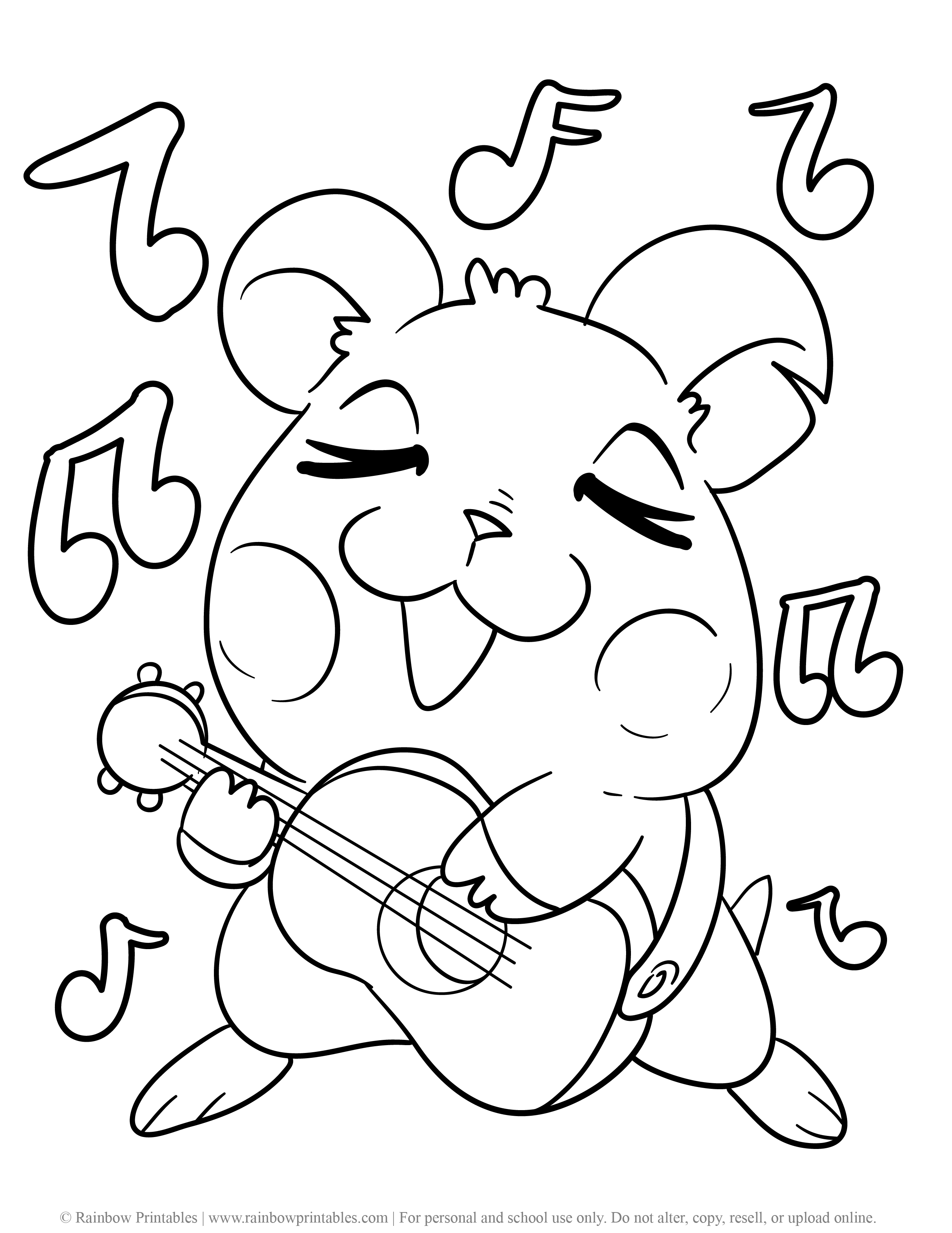 Cute Hamster Rodent Guinea Pig Singing Musical Guitar Music Notes Coloring Page for Kids