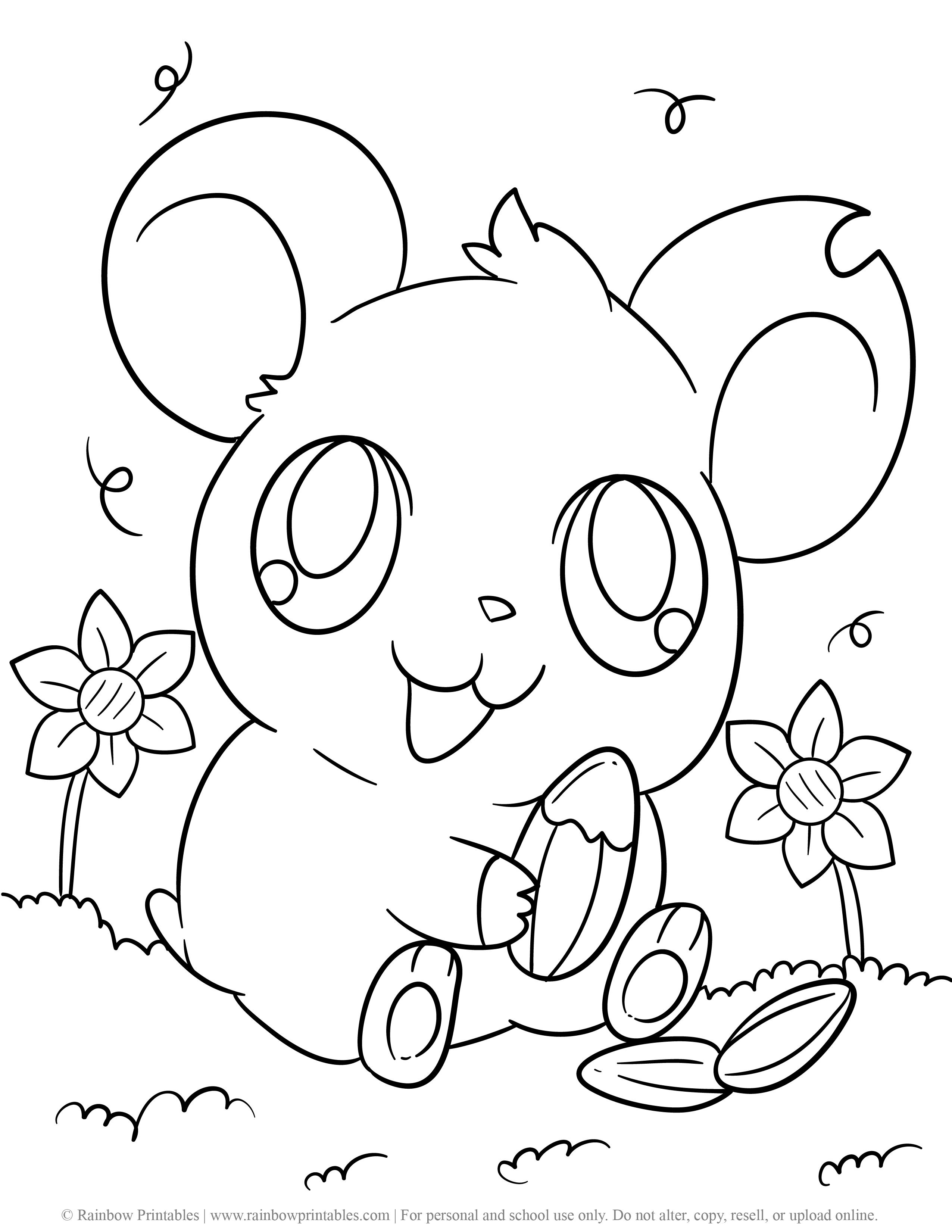 Cute Hamtaro Hamster Rodent Guinea Pig Eating Sunflower Seed JAPANENSE Coloring Page for Kids