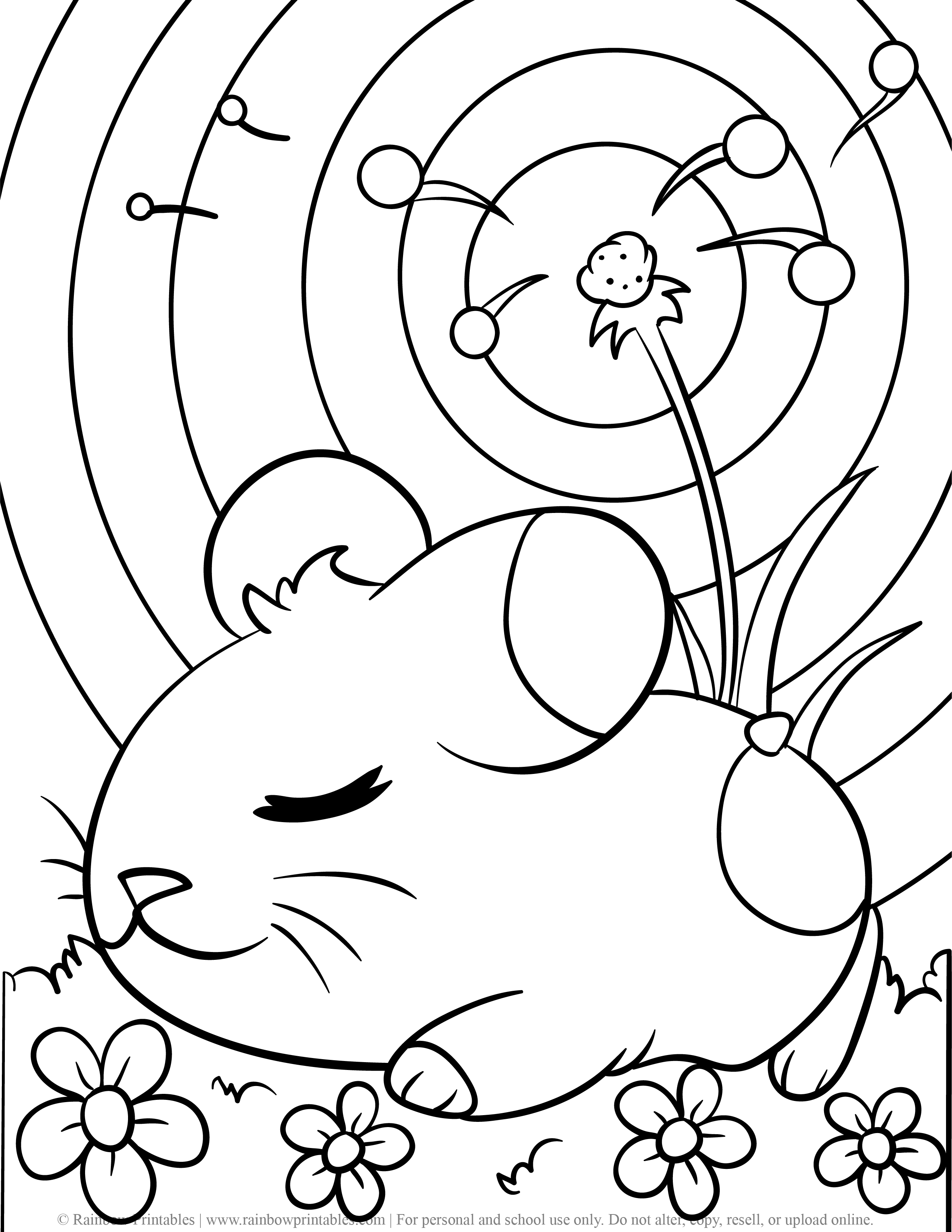 Cute Sleeping Hamster Rodent Guinea Pig Bed of Flowers Dandelion Coloring Page for Kids