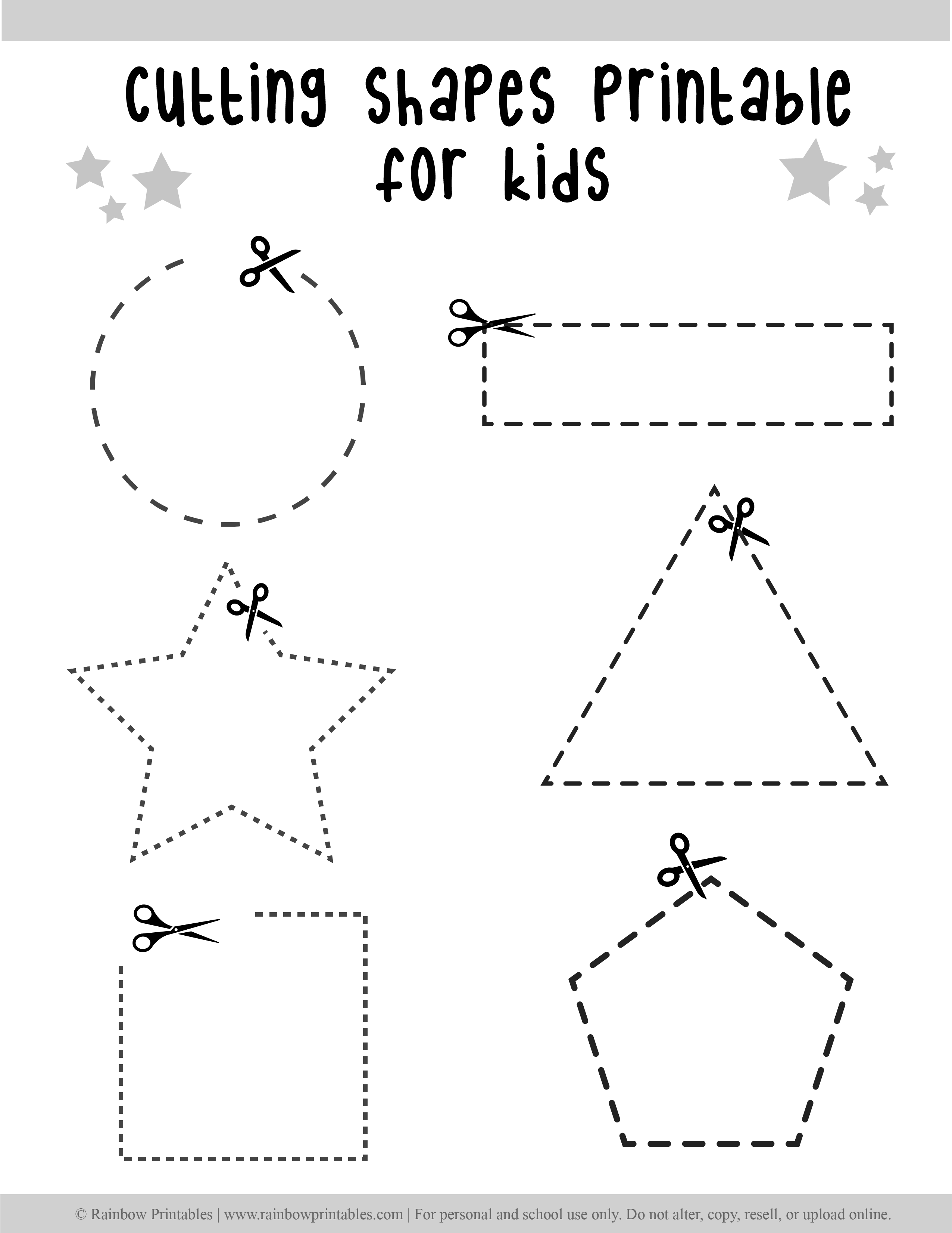 Paper Cutting Lines Shapes Worksheets For Preschool Fine Motor Practice With Scissors Rainbow Printables