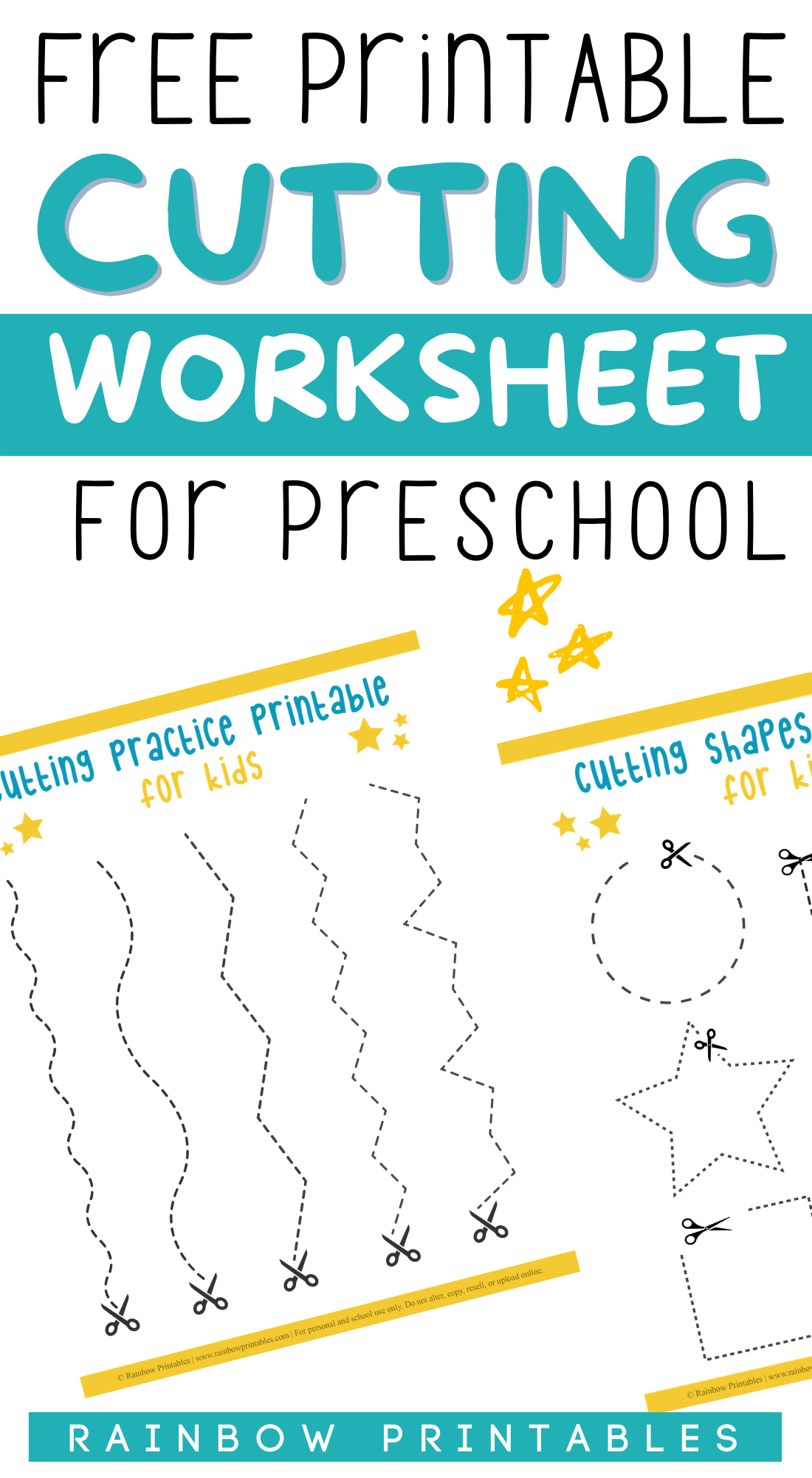 Paper Cutting Lines & Shapes – Worksheets For Preschool – Fine Motor Practice With Scissors