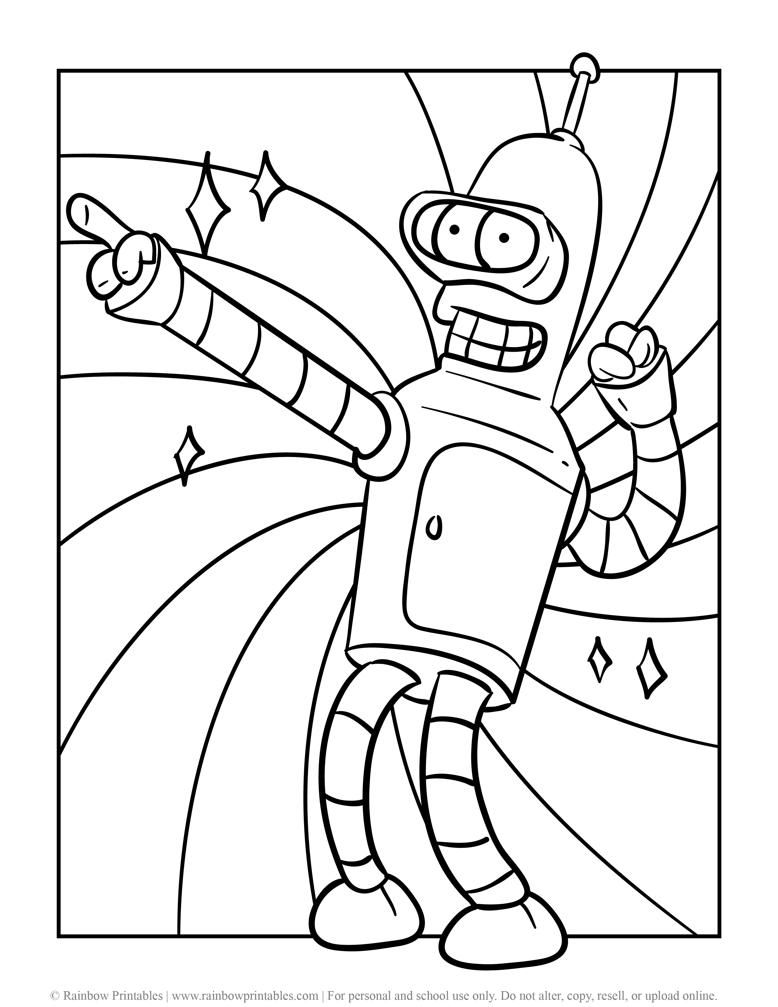 DANCING BENDER rodriguez Futurama With a Flower Funny Space Ship Robot Coloring Page Fanart