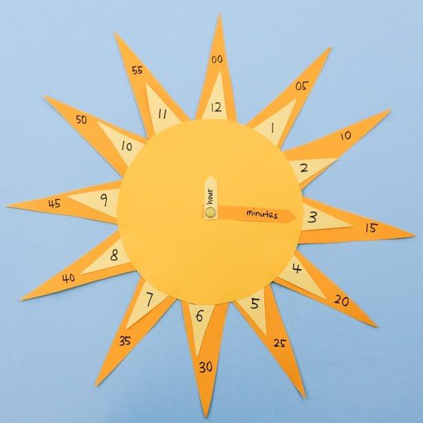 DIY Bright yellow sun analog clock