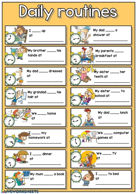 daily routine worksheet with time and vocabulary builders
