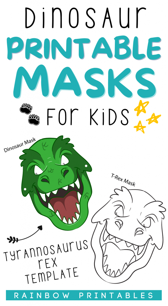 LOVE IT! Let your little dino loving kid roar like a dinosaur! Download, print out these free masks of a Tyrannosaurus Rex + Stegosaurus! Get kids to color in the dinosaur masks with the b/w blank version. - Dinosaur mask template printable, paper plate, masks, for kids, ideas, craft, how to make, make your own, raptor, baby dino masks, card board, party, trex, box, birthday, eye mask for kids, cosplay, cricut, preschool, diy, easy, safe, art, activity, adult, toddler, t rex, aesthetic head