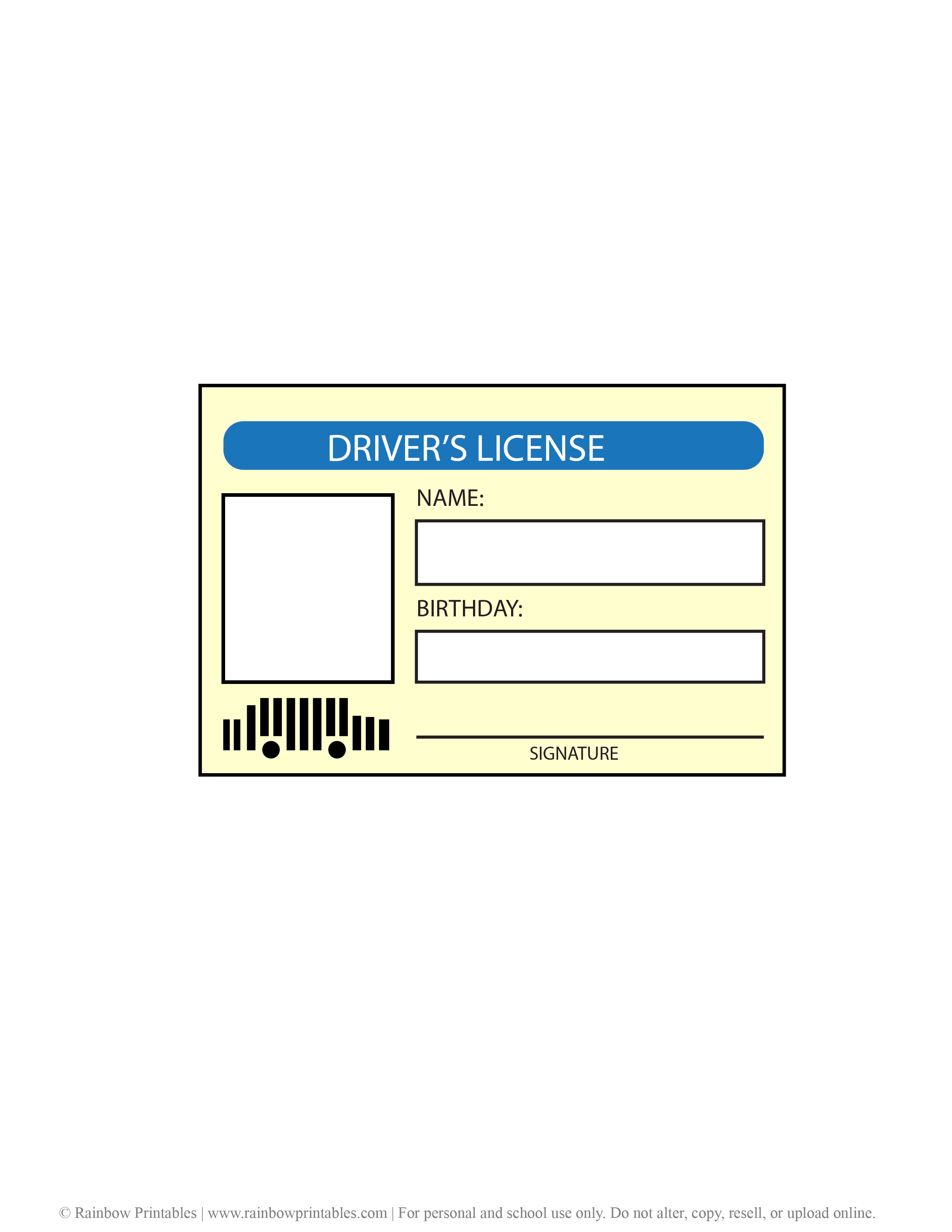 Driver's License Printable for Kids Mock Costume Pretend Play Identification ID Tag Vehicle Fake ID (2)