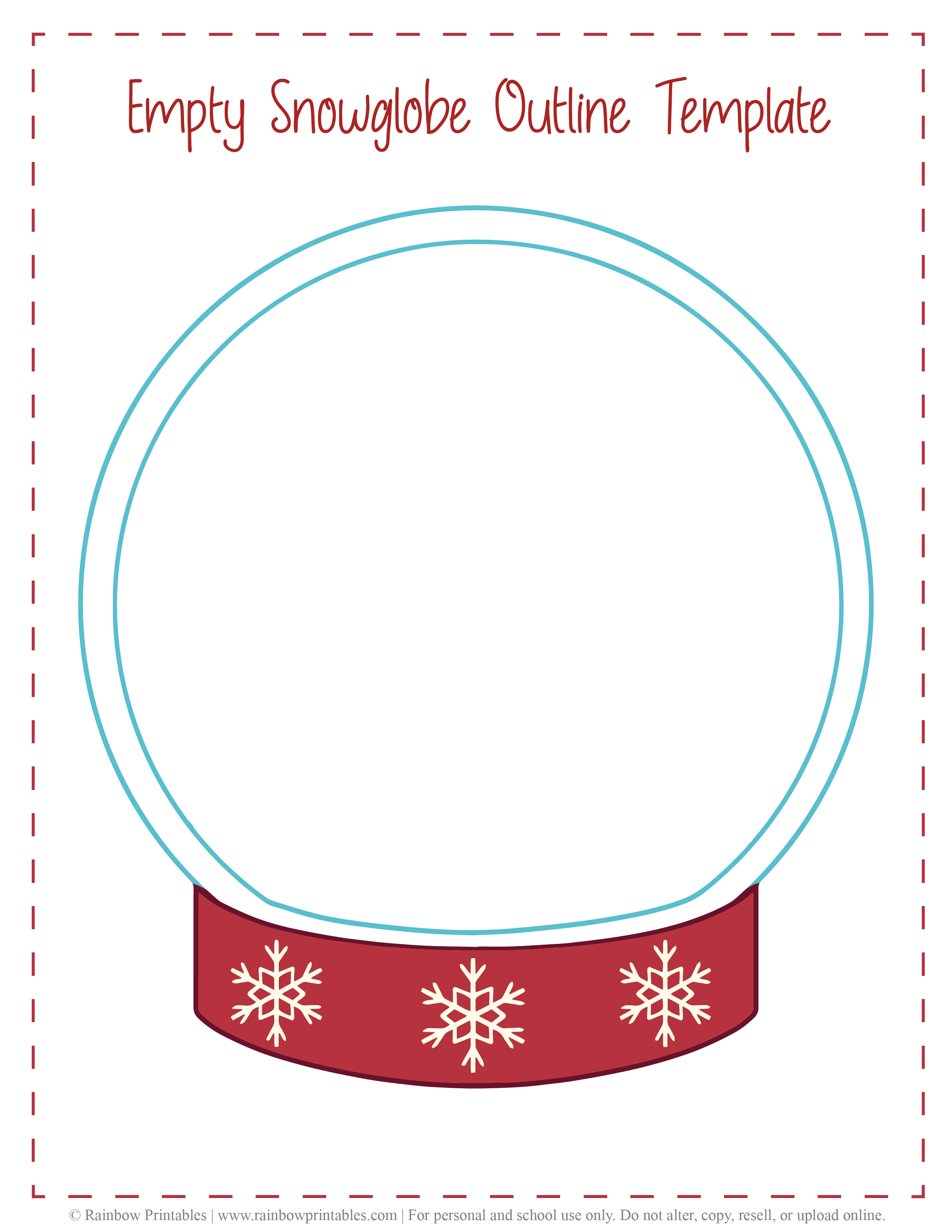 Empty Snowglobe Outline Template Christmas Xmas Free Printable Freebie Arts Crafts for Kids-01-02