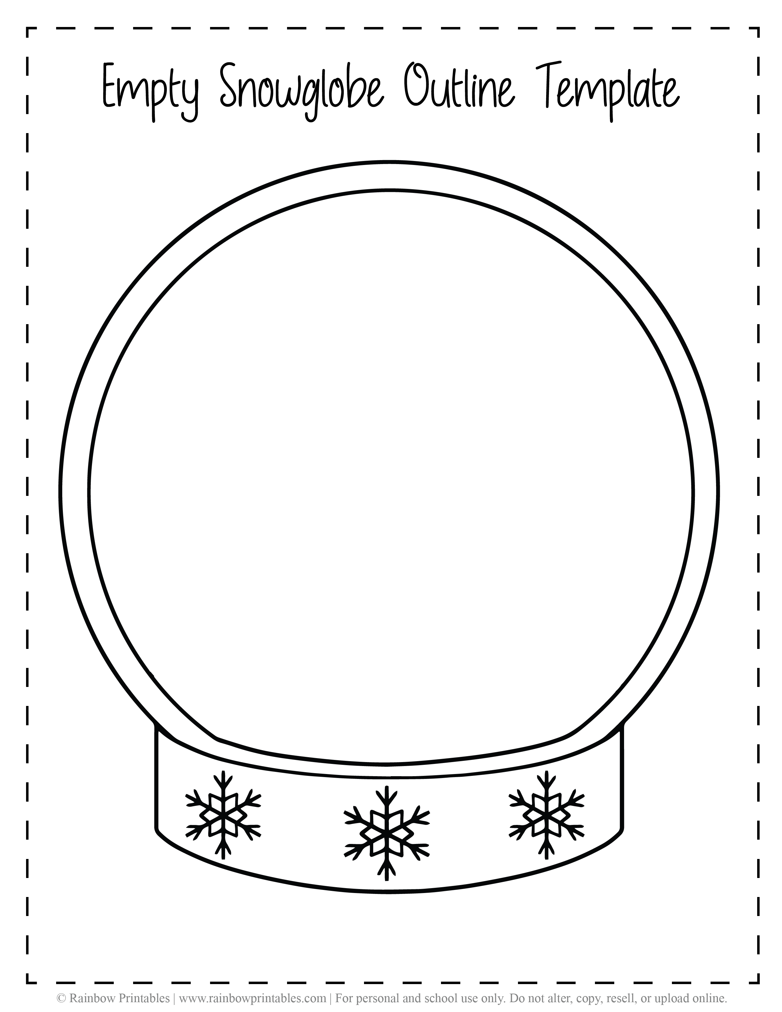 Empty Snowglobe Outline Template Christmas Xmas Free Printable Freebie Arts Crafts for Kids Black White