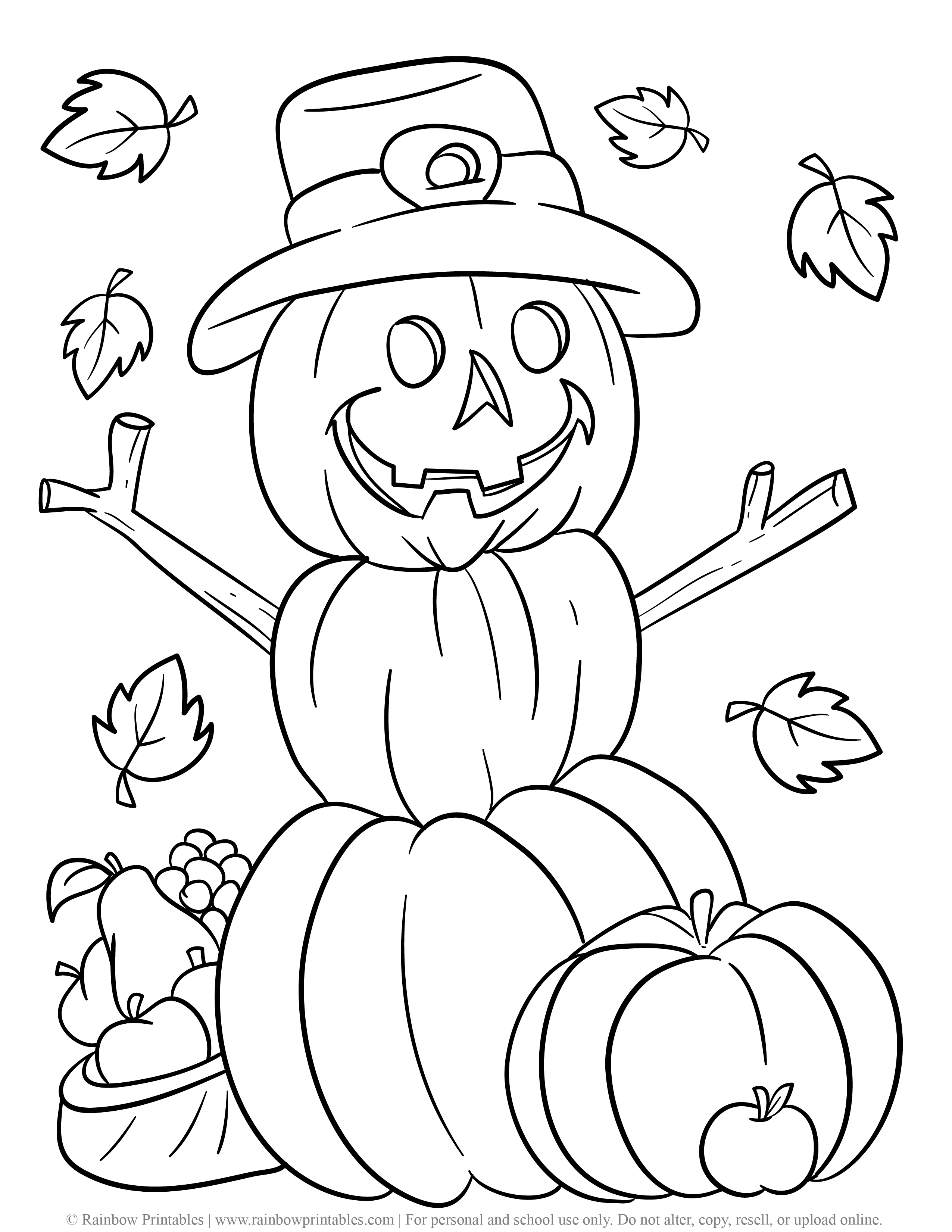 Fall Theme Season Pumpkin Snowman Coloring Pages for Kids Cute Beautiful Harvest Falling Leaves