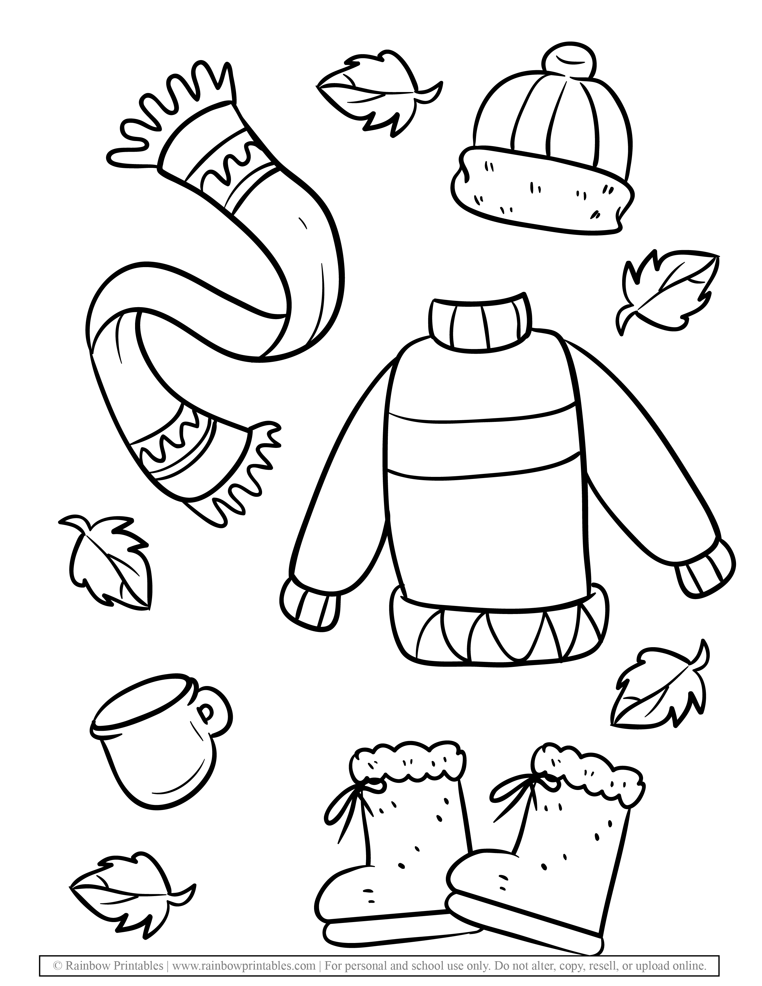 Fall fashion Autumn Clothing Seasonal Coloring Scarf, Mittens, Ear muffs, Puff Ball Hat coloring Page for kids (2)