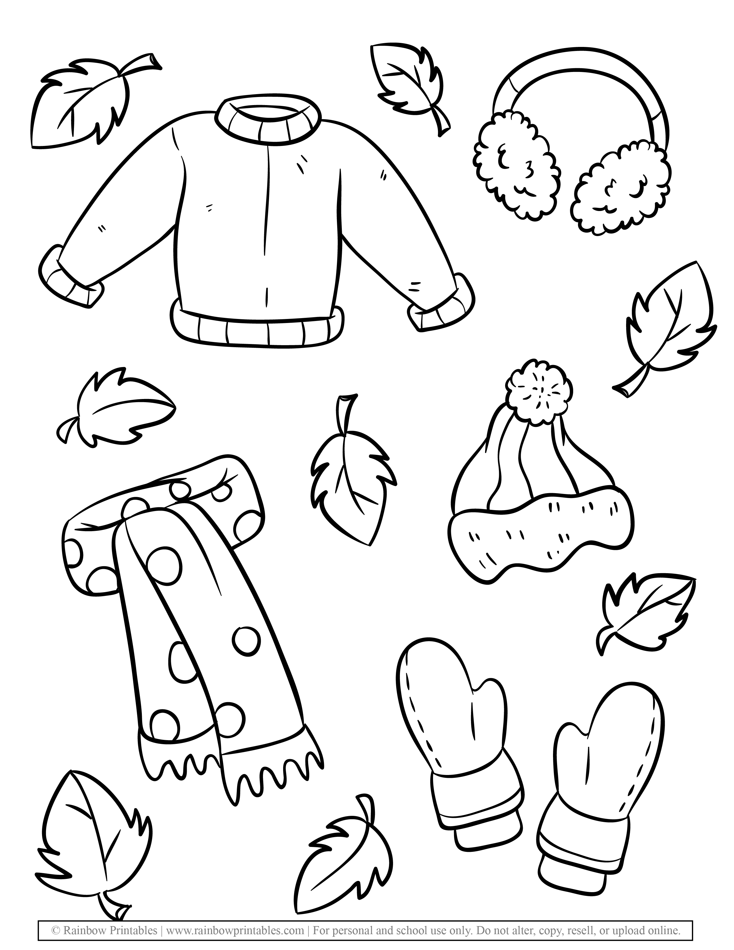 Fall fashion Autumn Clothing Seasonal Coloring Scarf, Mittens, Ear muffs, Puff Ball Hat coloring Page for kids