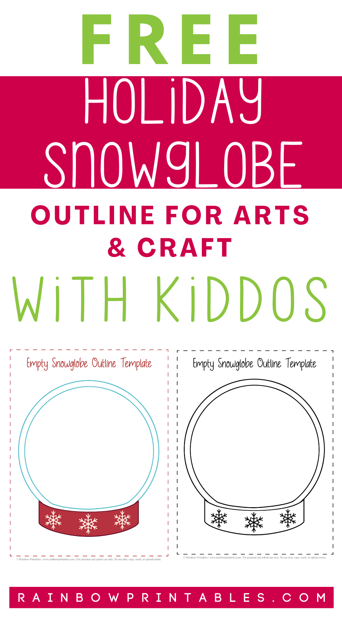 Free Holiday Snowglobe Outline Printable for Arts & Craft With Little Kids