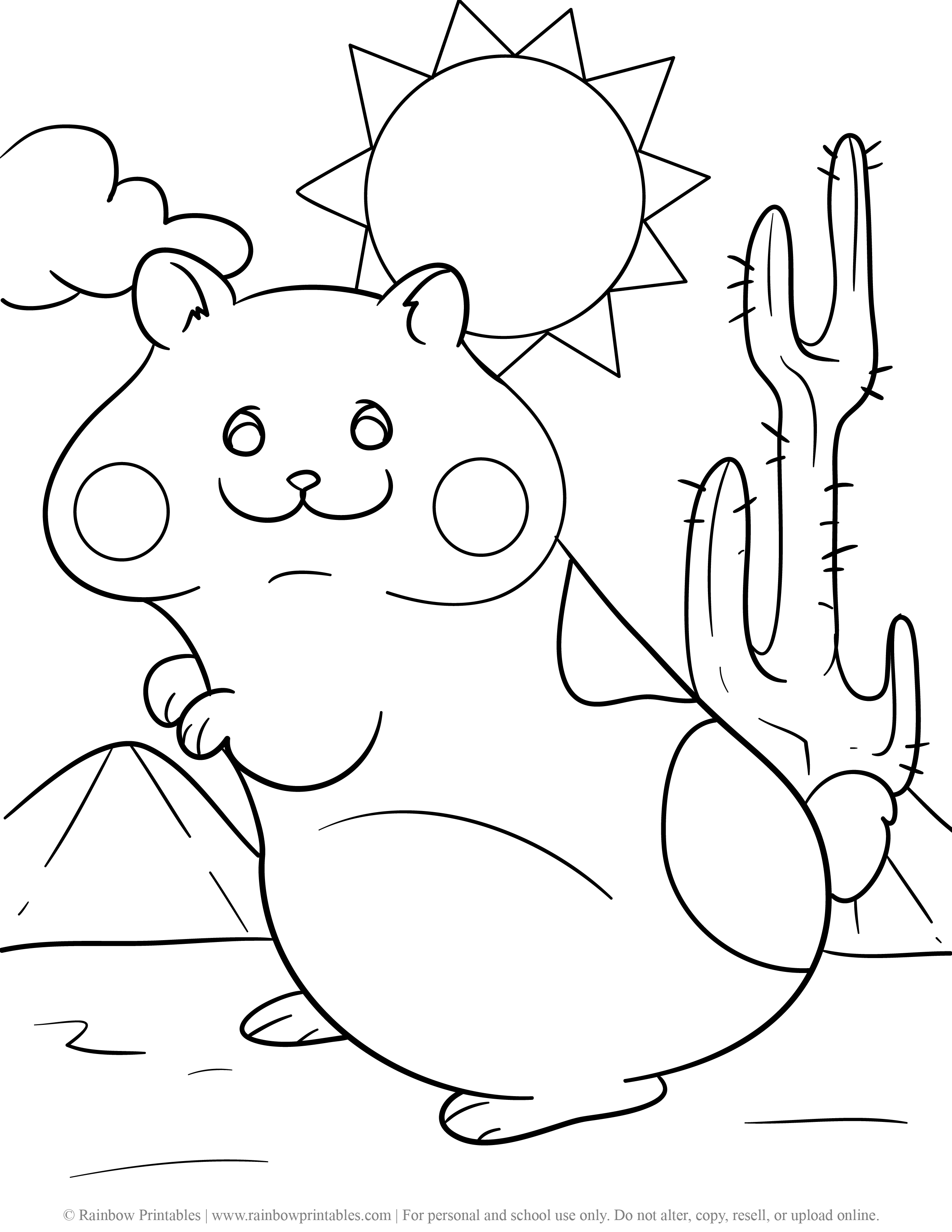 HAPPY Hamster Rodent Guinea Pig Sunny Desert Cactus Arizona Coloring Page for Kids