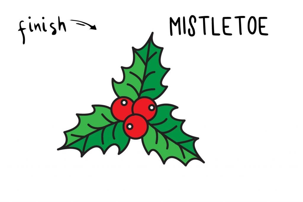 HOW TO DRAW A CHRISTMAS MISTLETOE HOLIDAY GUIDE ILLUSTRATION STEP BY STEP EASY SIMPLE FOR KIDS