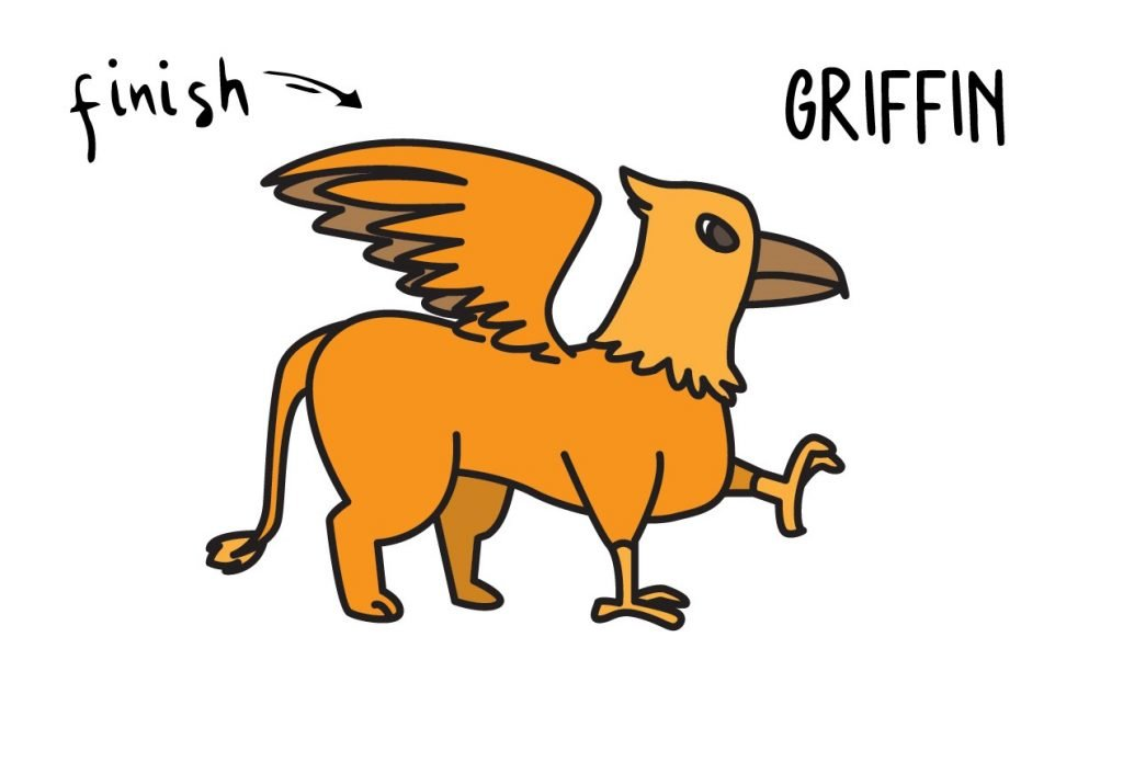 HOW TO DRAW A MYTH ANIMAL GRIFFIN GUIDE ILLUSTRATION STEP BY STEP EASY SIMPLE FOR KIDS Final