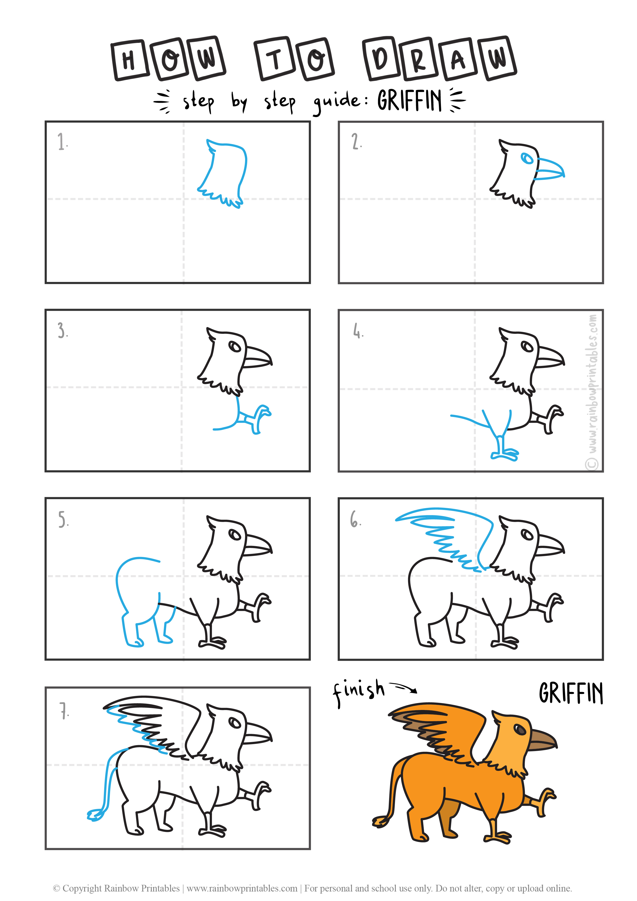 HOW TO DRAW A MYTH ANIMAL GRIFFIN GUIDE ILLUSTRATION STEP BY STEP EASY SIMPLE FOR KIDS