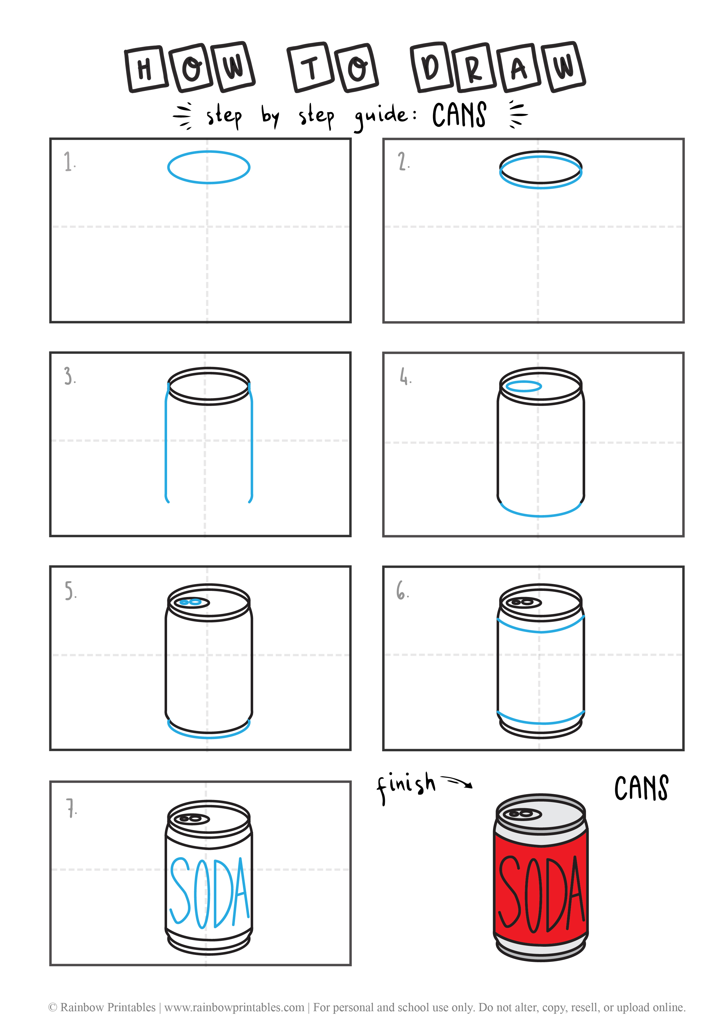 HOW TO DRAW A SODA CAN GUIDE ILLUSTRATION STEP BY STEP EASY SIMPLE FOR KIDS