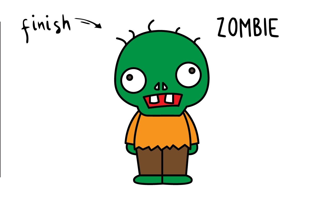 How To Draw a Cute Cartoon Zombie (Inspired by Plant vs Zombie) – Simple and Kid Friendly!