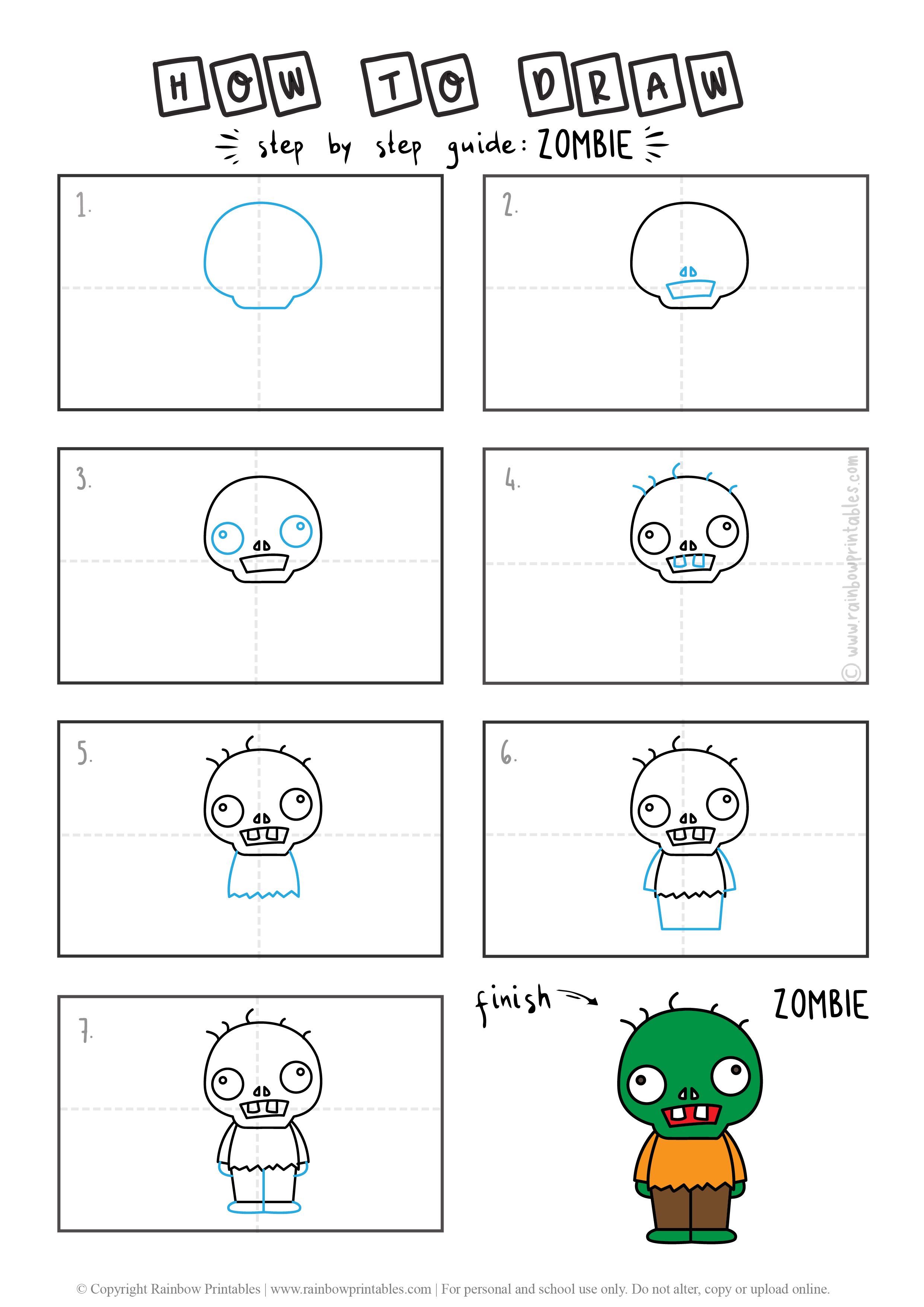 HOW TO DRAW A ZOMBIE UNDEAD HALLOWEEN MONSTER CUTE CARTOON GUIDE ILLUSTRATION STEP BY STEP EASY SIMPLE FOR KIDS