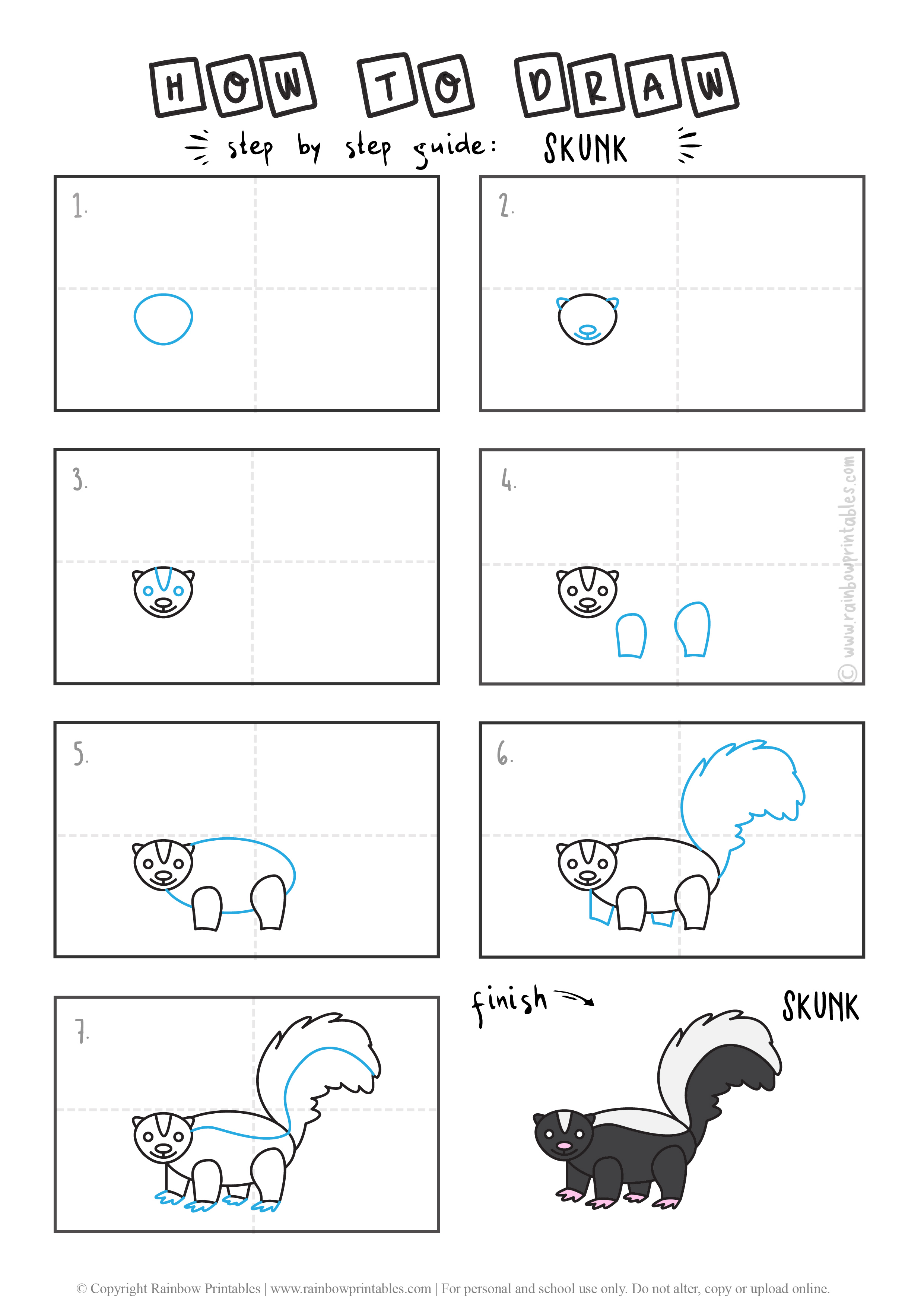HOW TO DRAW ANIMAL SKUNK STINKY SPRAY GUIDE ILLUSTRATION STEP BY STEP EASY SIMPLE FOR KIDS