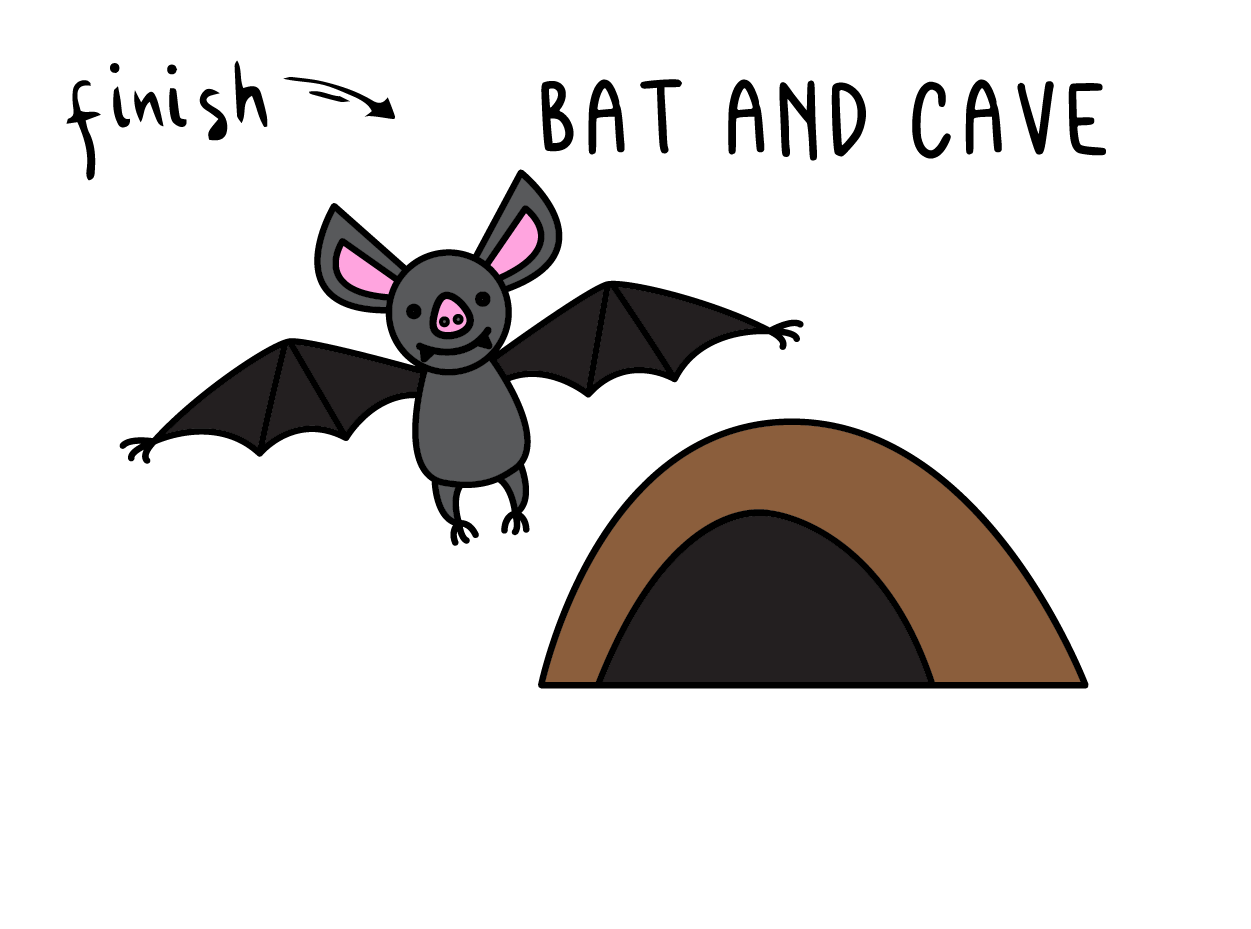 HOW TO DRAW BAT CAVE ANIMAL FOR KIDS EASY STEP CARTOON FINAL