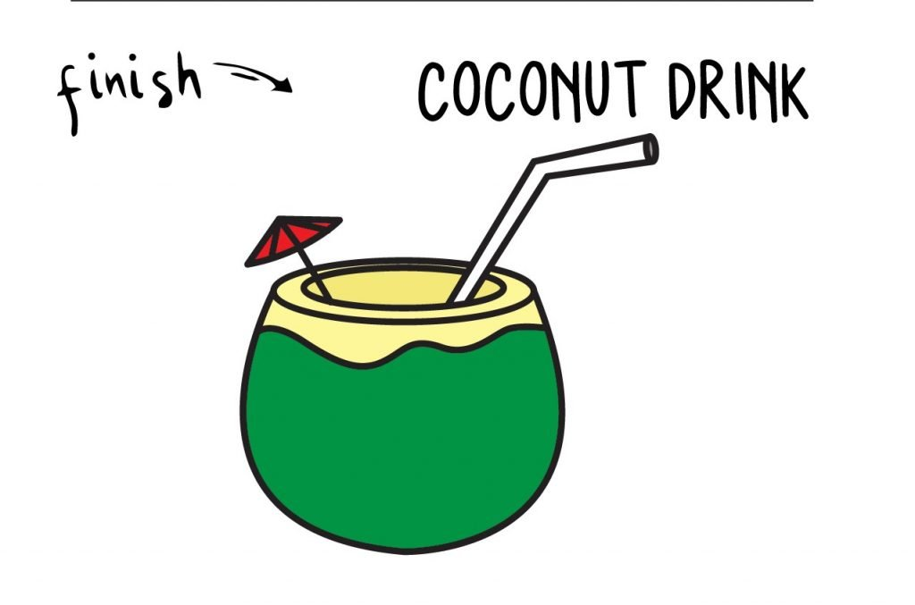 HOW TO DRAW COCONUT DRINK VACATION BEACH GUIDE ILLUSTRATION STEP BY STEP EASY SIMPLE FOR KIDS