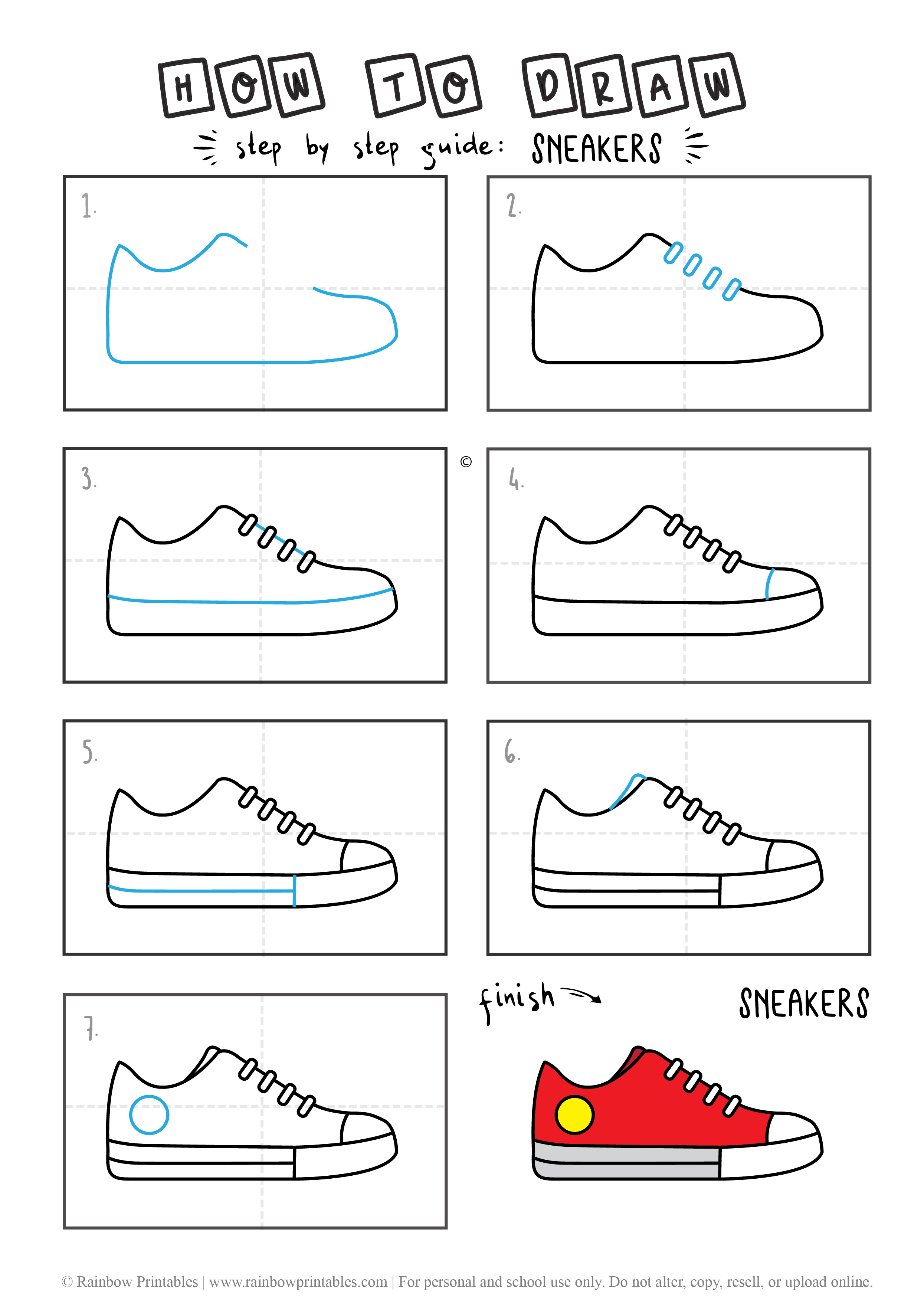 HOW TO DRAW CONVERSE SNEAKER SHOES EVERYDAY CLOTHES GUIDE ILLUSTRATION STEP BY STEP EASY SIMPLE FOR KIDS