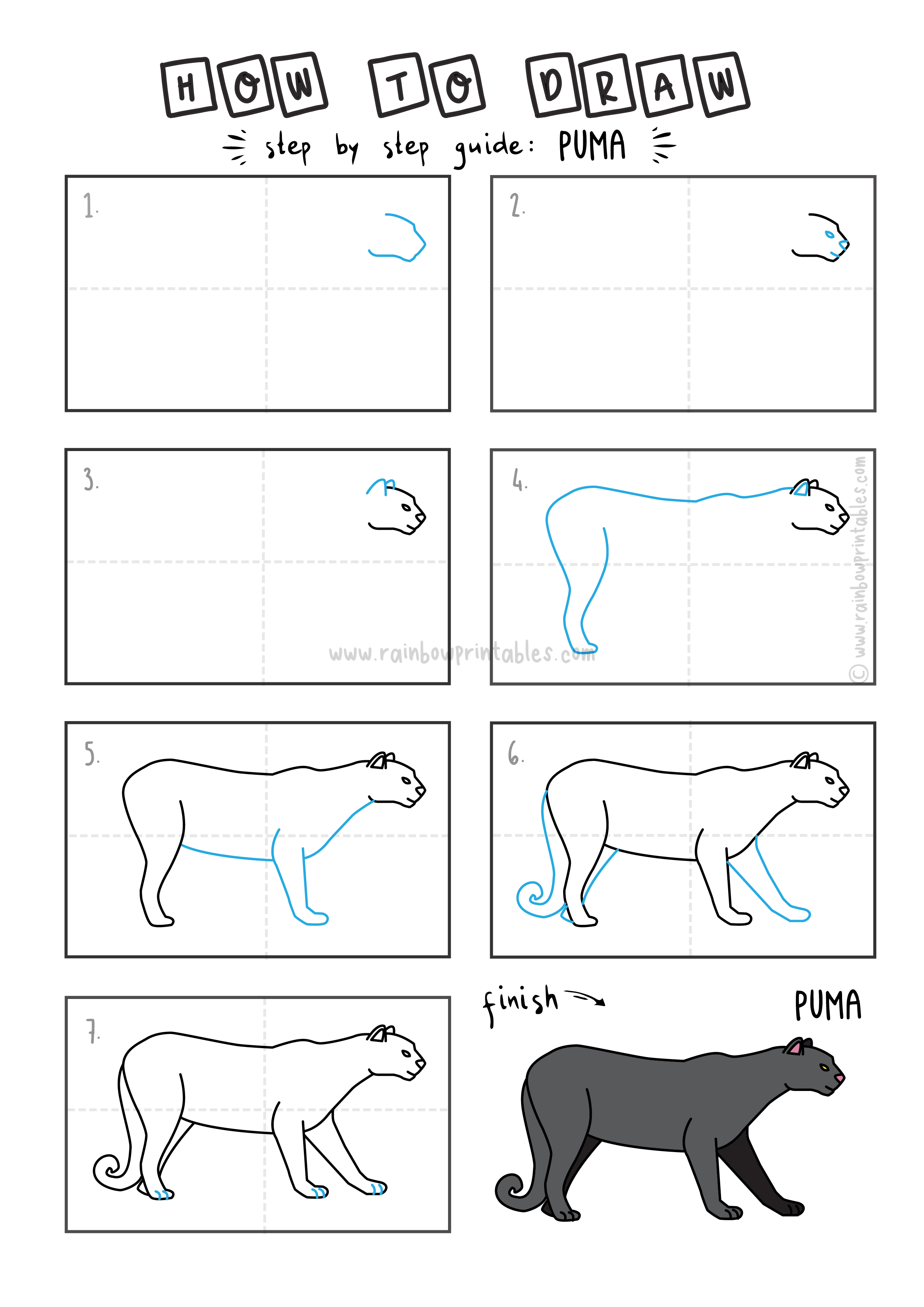 HOW TO DRAW EASY FOR KIDS STEP BY STEP BLACK PUMA ANIMAL COUGAR ANIMAL CAT