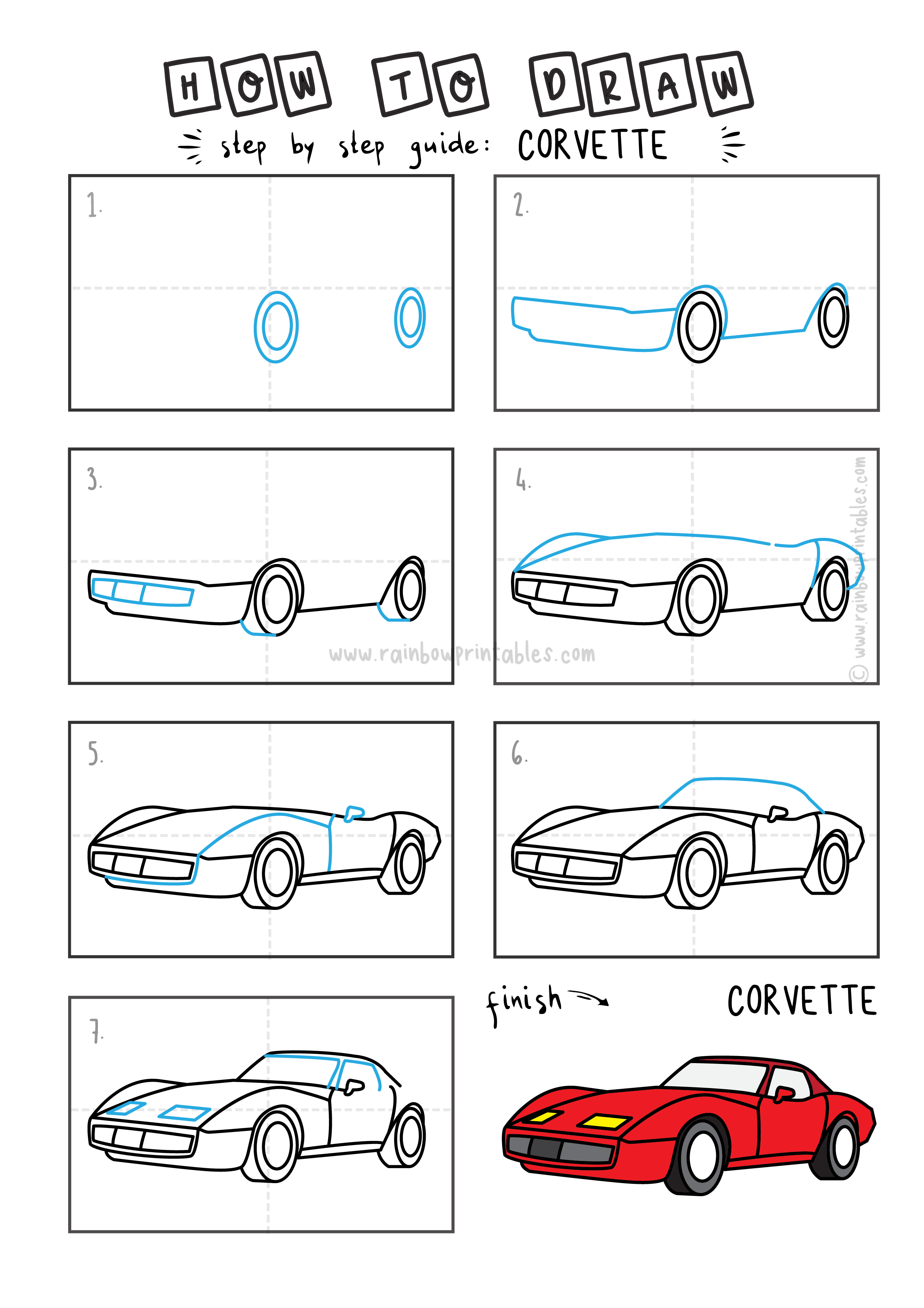 HOW TO DRAW EASY FOR KIDS STEP BY STEP CORVETTE CAR RED TRANSPORTATION