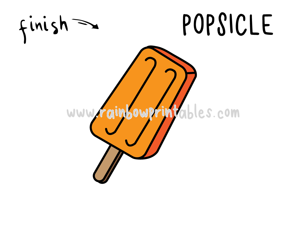 HOW TO DRAW EASY FOR KIDS STEP BY STEP ORANGE POPISCLE FOOD TREAT DESSERT FINAL