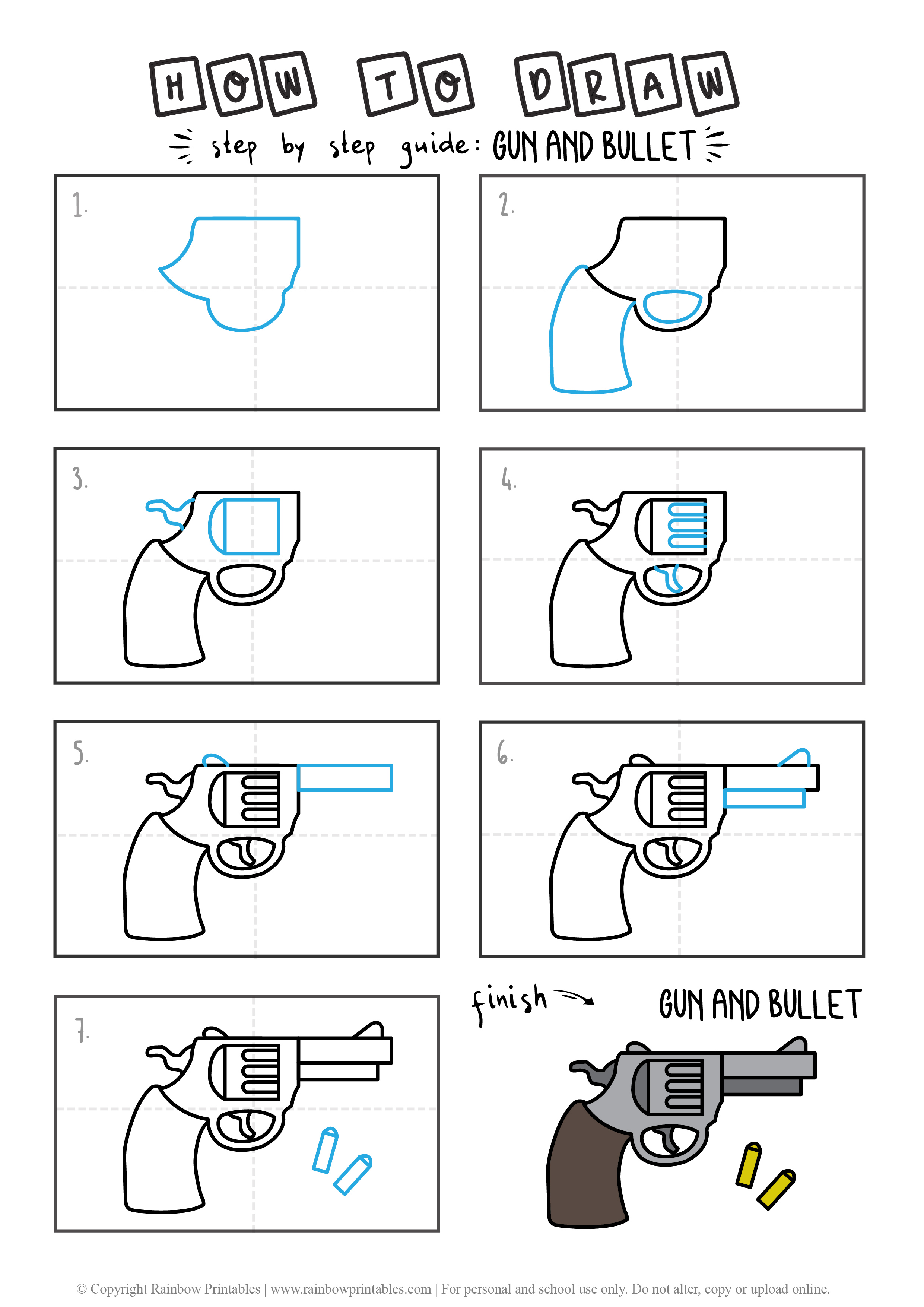 HOW TO DRAW GUN AND BULLETS ARMS WEAPON GUIDE ILLUSTRATION STEP BY STEP EASY SIMPLE FOR KIDS