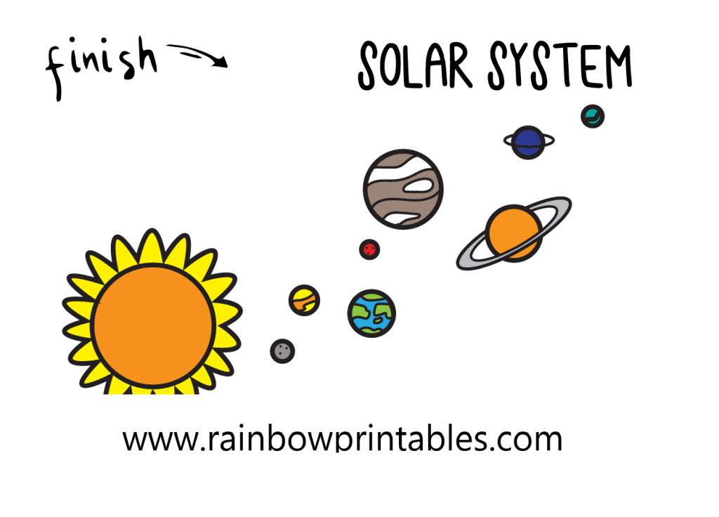 HOW TO DRAW SOLAR SYSTEM SPACE UNIVERSE GALAXY ILLUSTRATION STEP BY STEP EASY SIMPLE FOR KIDS FINAL