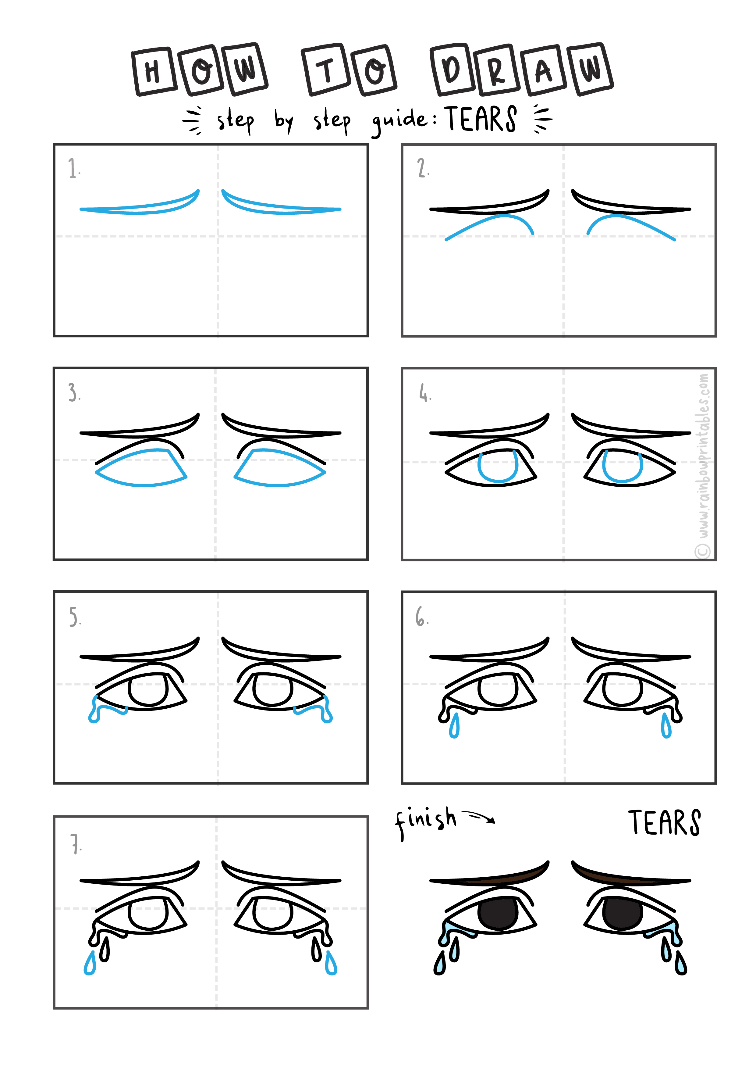 HOW TO DRAW TEARS CRYING SADNESS EYES FACE FOR KIDS EASY GUIDE EMOTIONS Final