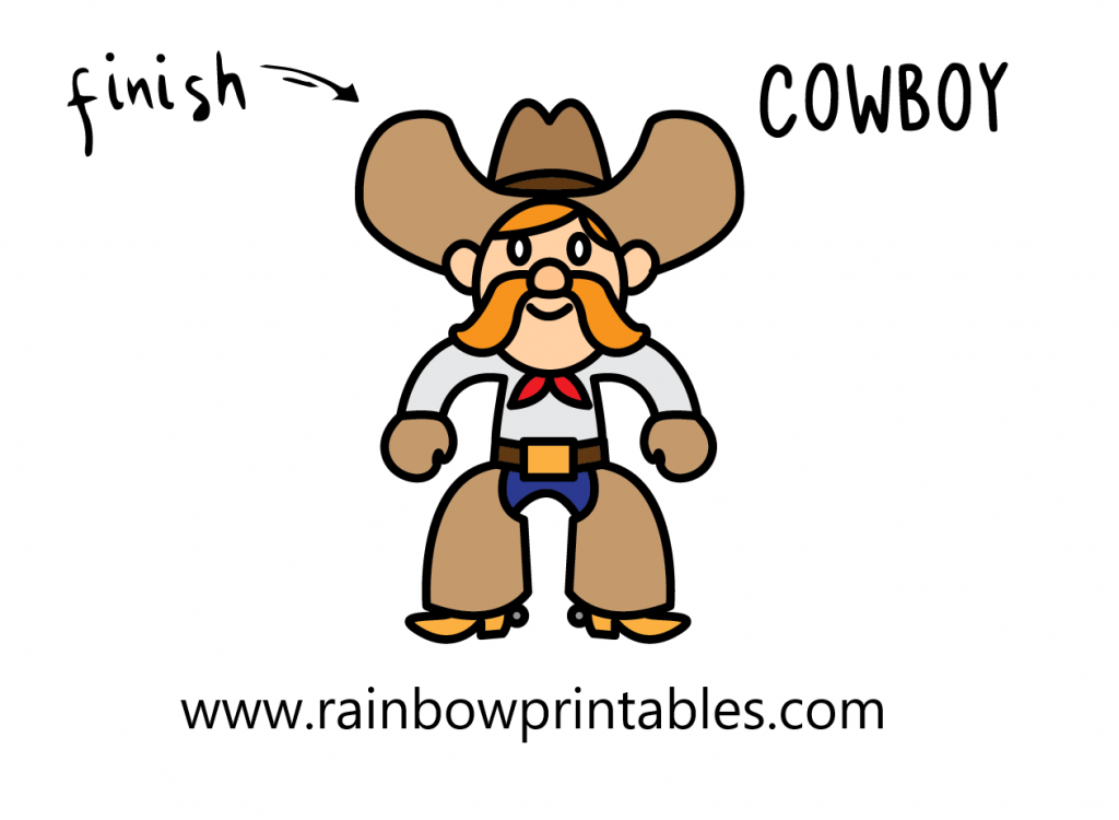 HOW TO DRAW WESTERN COWBOY MAN BOOTS WILD WEST ILLUSTRATION STEP BY STEP EASY SIMPLE FOR KIDS FINAL