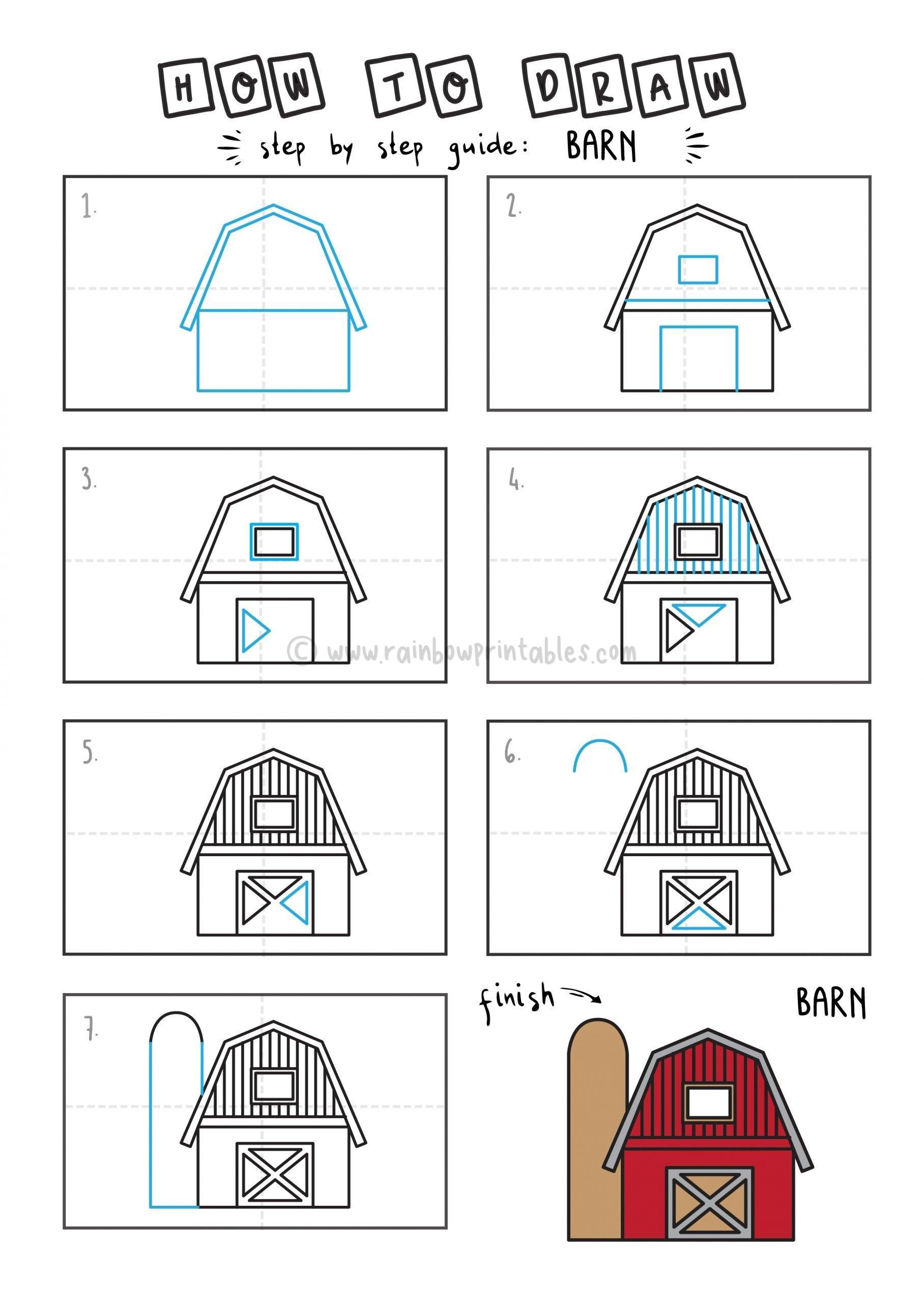 How To DRAW FARM BARN Step By Step For Kids Easy Illustration Doodle Drawing GUIDE