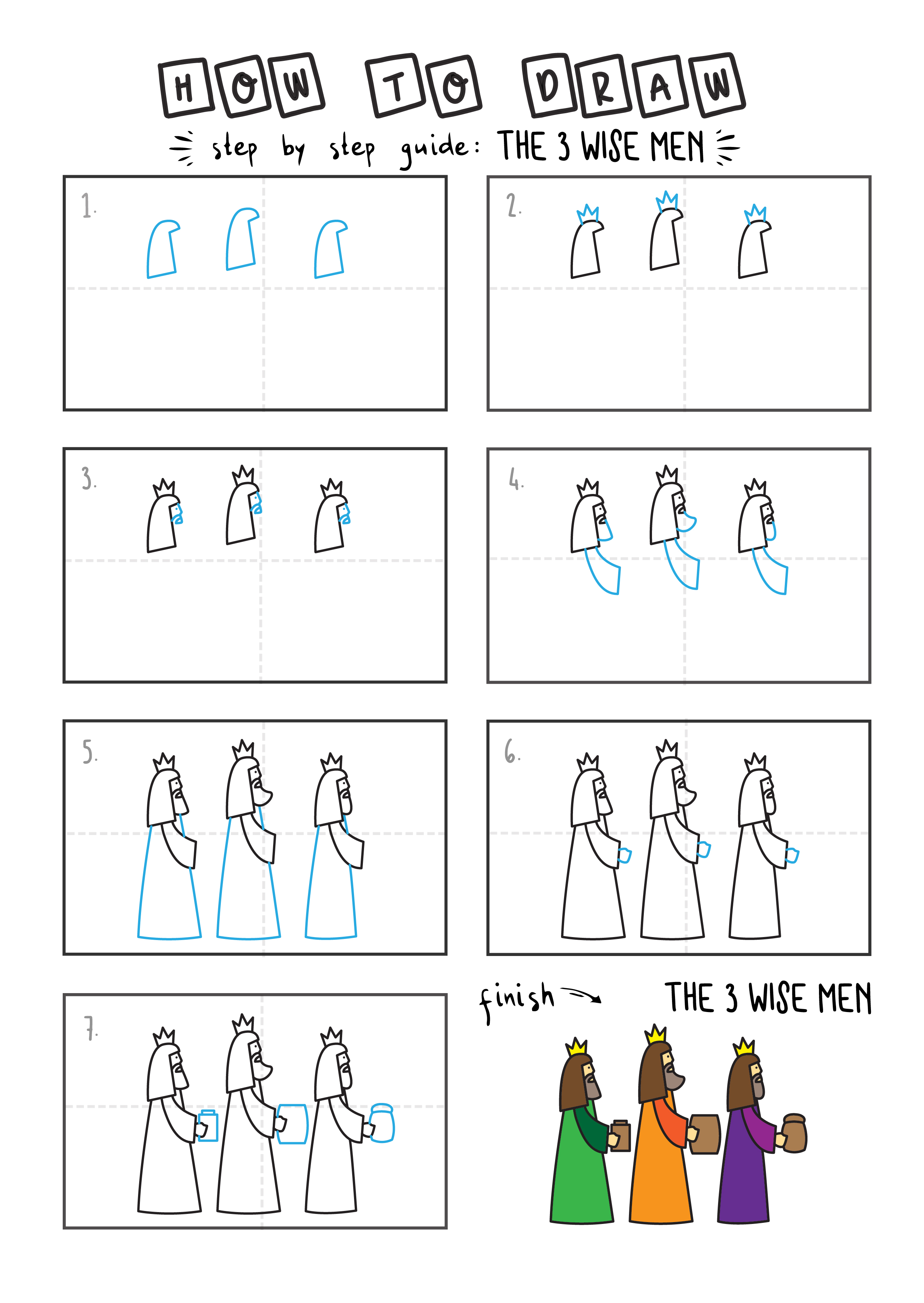 How To Draw 3 WISE MEN CHRISTIAN BIBLE By Step For Kids Easy Illustration Doodle Drawing GUIDE 2
