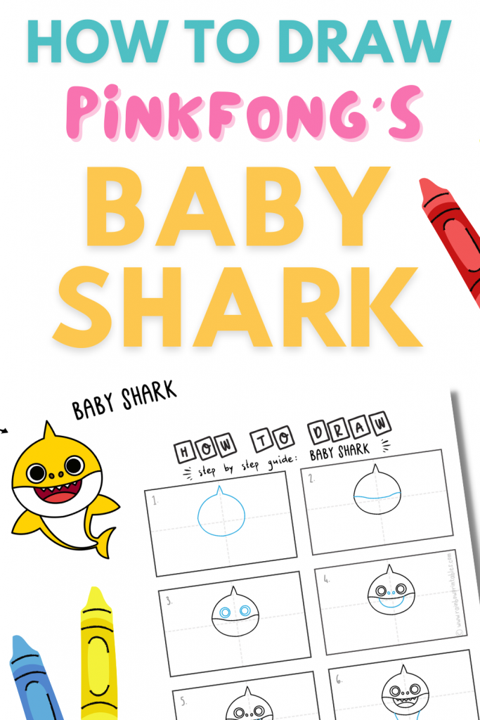 How To Draw Baby Shark Pinterest Baby shark music, doo doo, images, activities, shark games for party, toddlers, art project, drawing ideas, easy drawing illustrations, printable