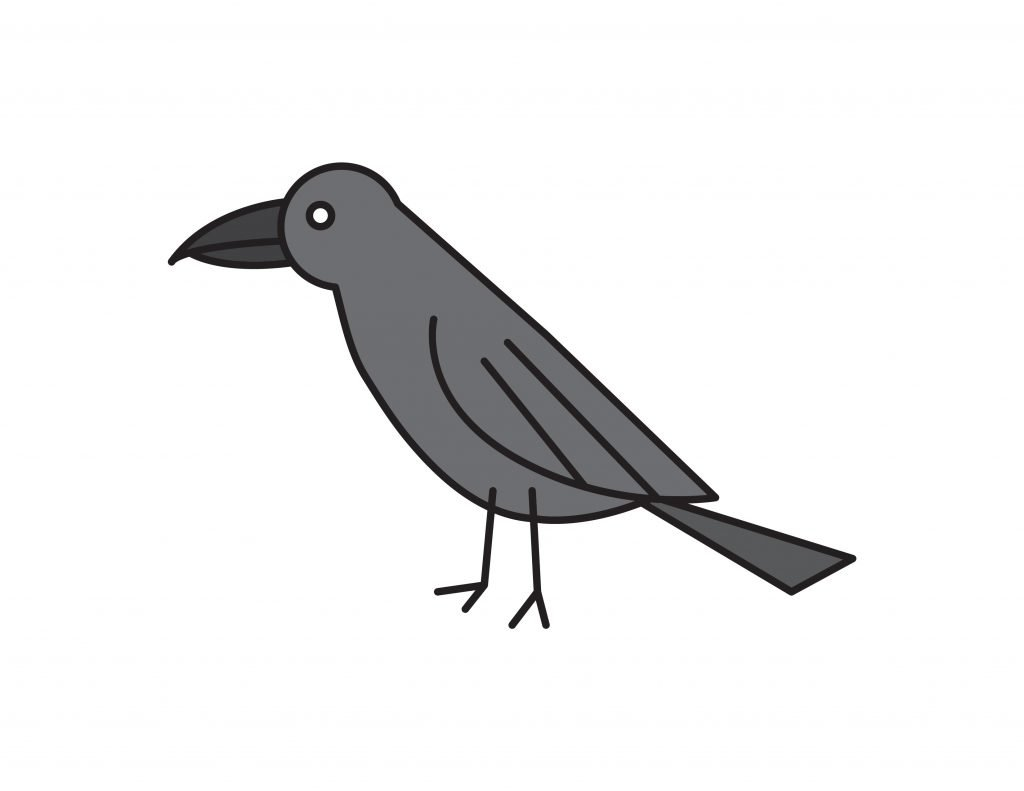How To Draw RAVEN BLACK BIRD Crow STEP By Step For Kids Easy Illustration Doodle Drawing GUIDE ANIMAL