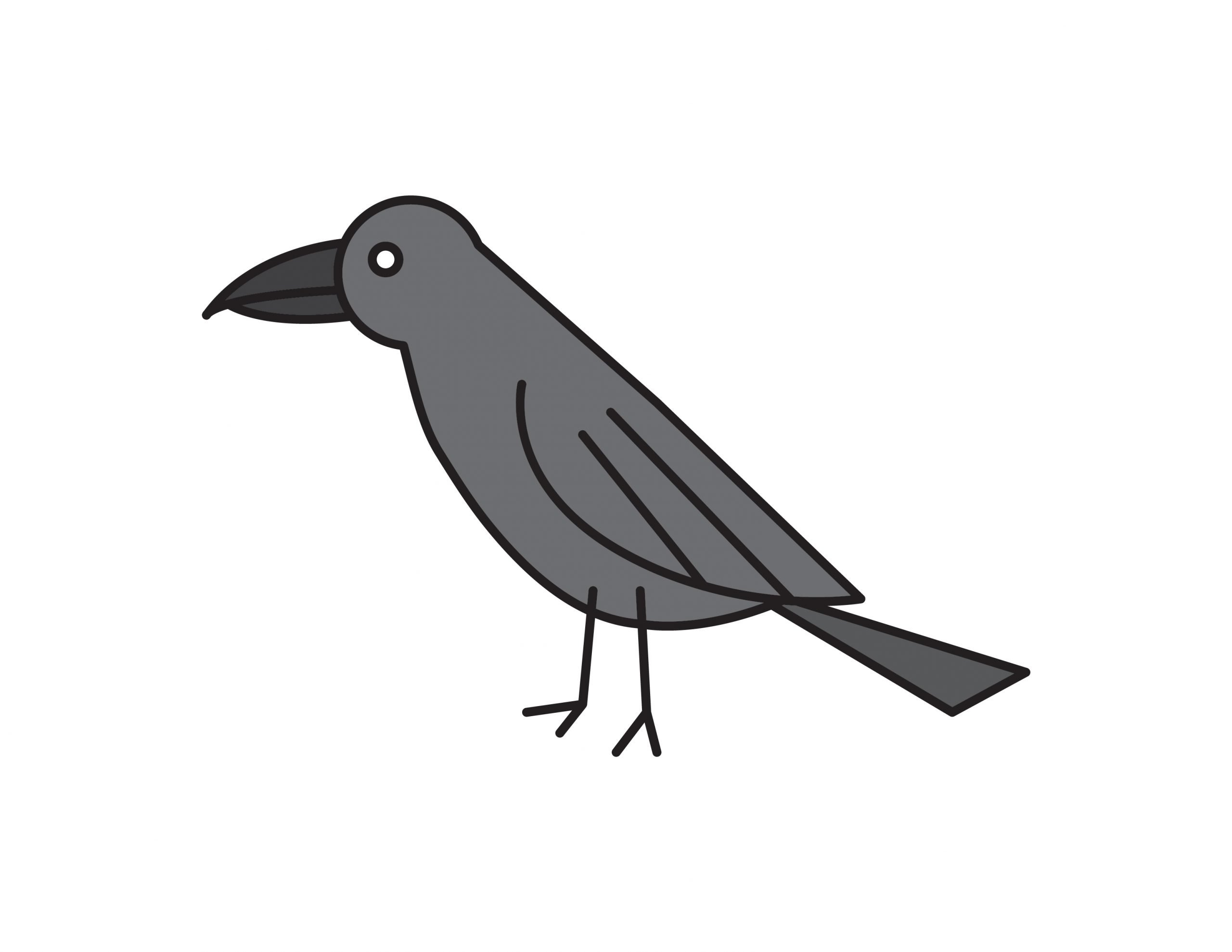 How To Draw a Black Raven (Bird) – Easy Tutorial for Kids