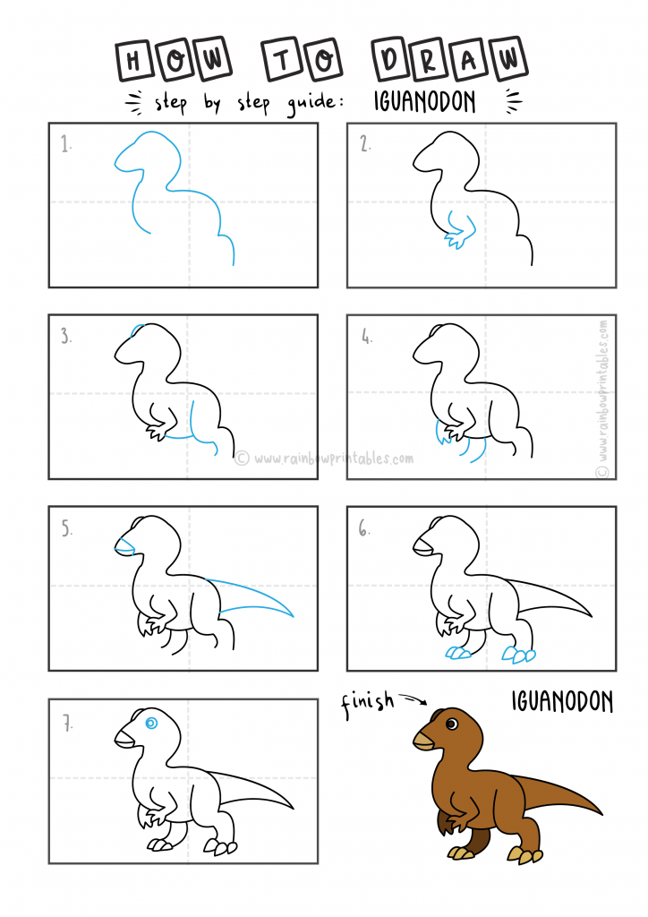 How To Draw Tutorials For Kids DINO DINSAOUR IGUANODON Step by step for kids easy simple guide