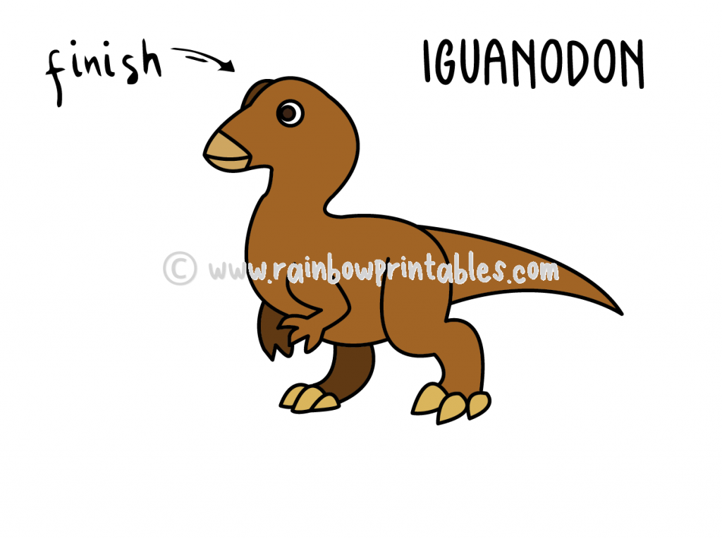 How To Draw Tutorials For Kids DINO DINSAOUR IGUANODON Step by step for kids easy simple guide FINAL
