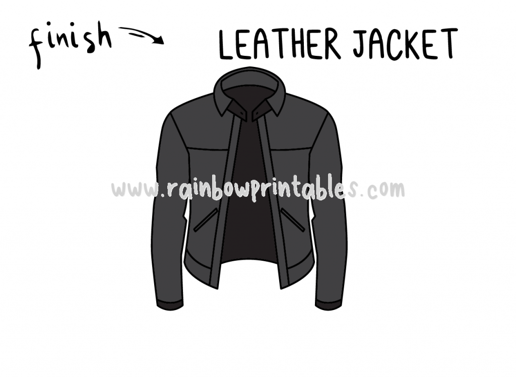How To Draw Tutorials For Kids LEATHER JACKET CLOTHING Step by step for kids easy simple guide FINAL