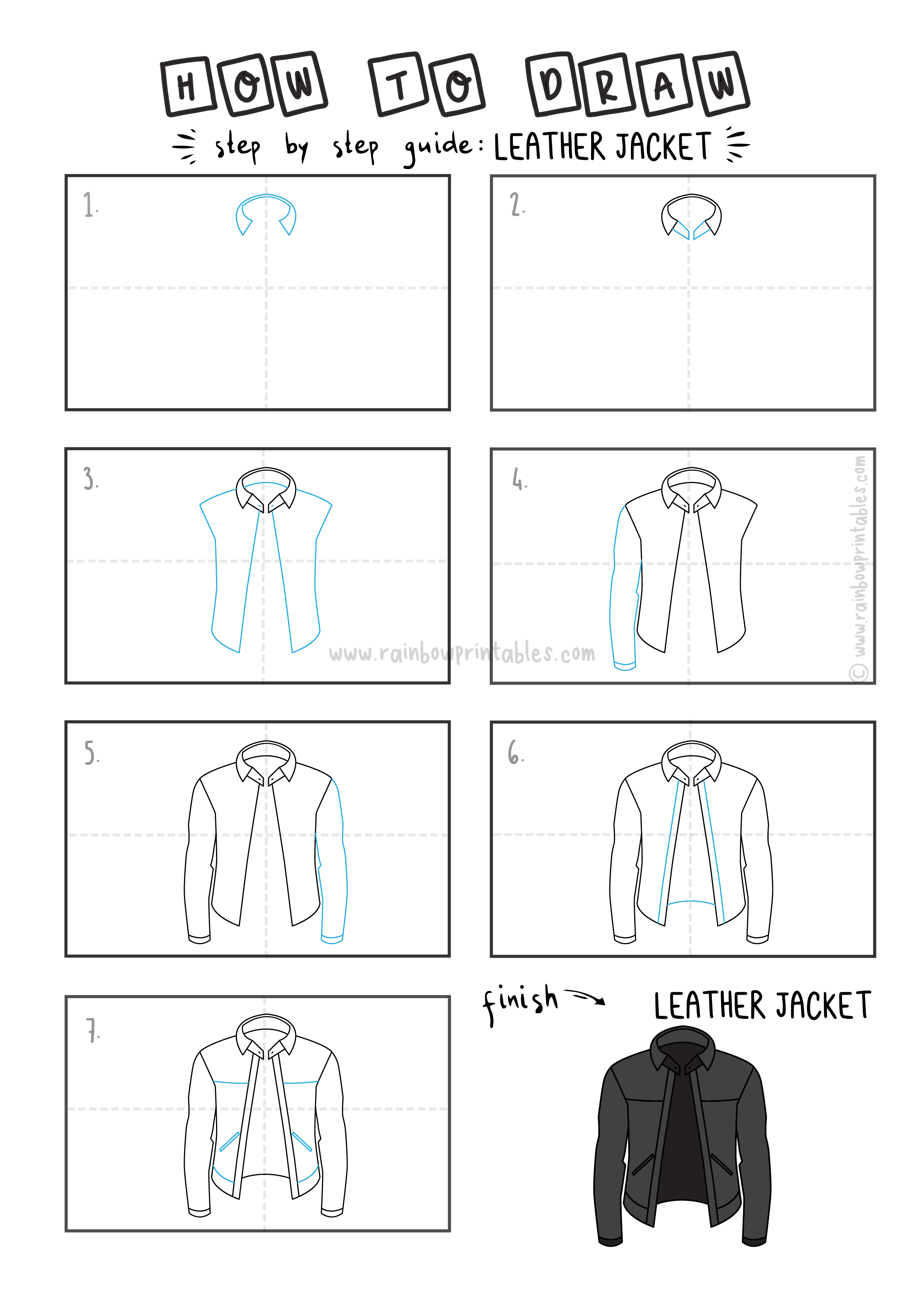 How To Draw Tutorials For Kids LEATHER JACKET CLOTHING Step by step for kids easy simple guide