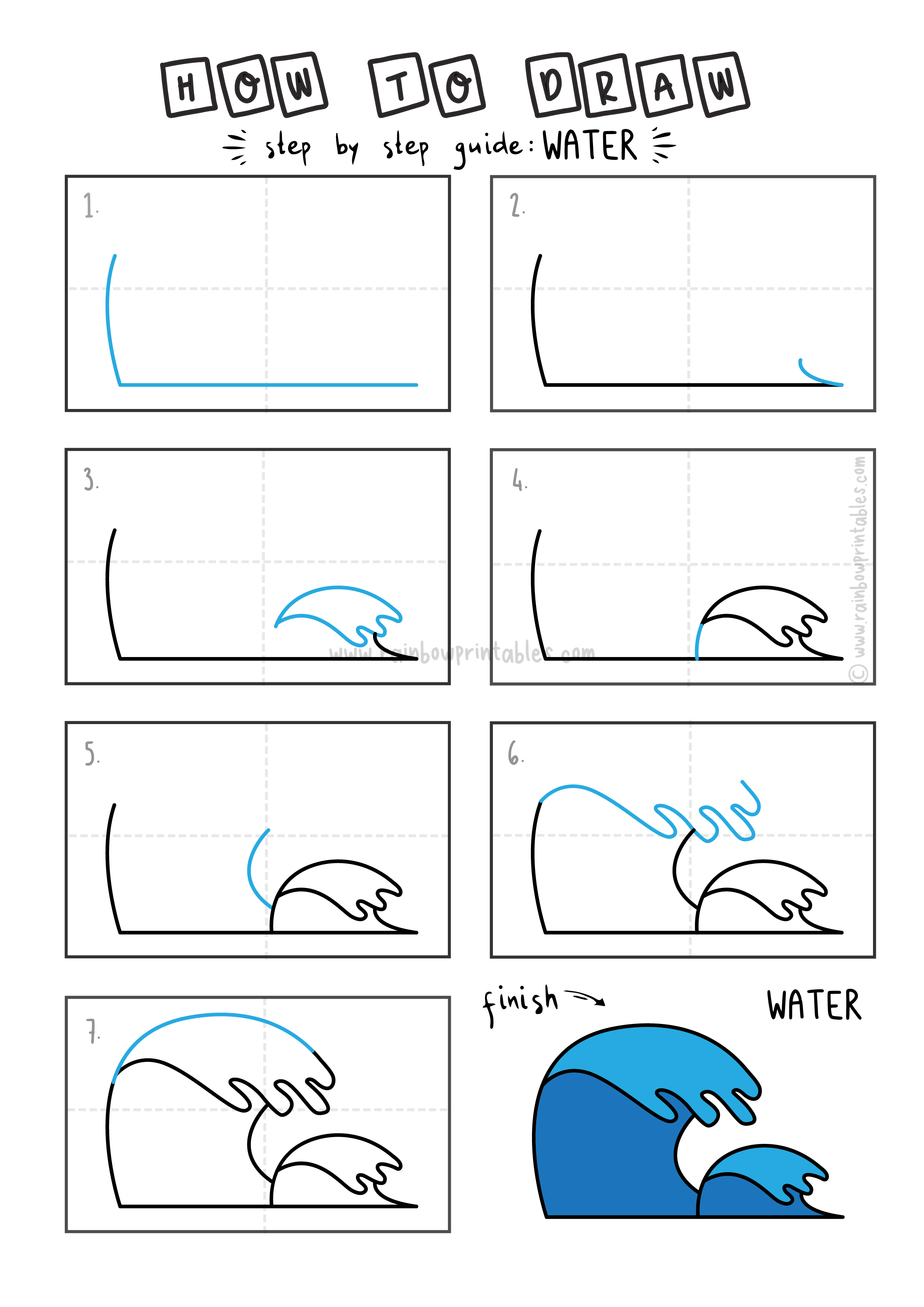 How To Draw Tutorials For Kids Ocean Waves Water Step By Step Guide