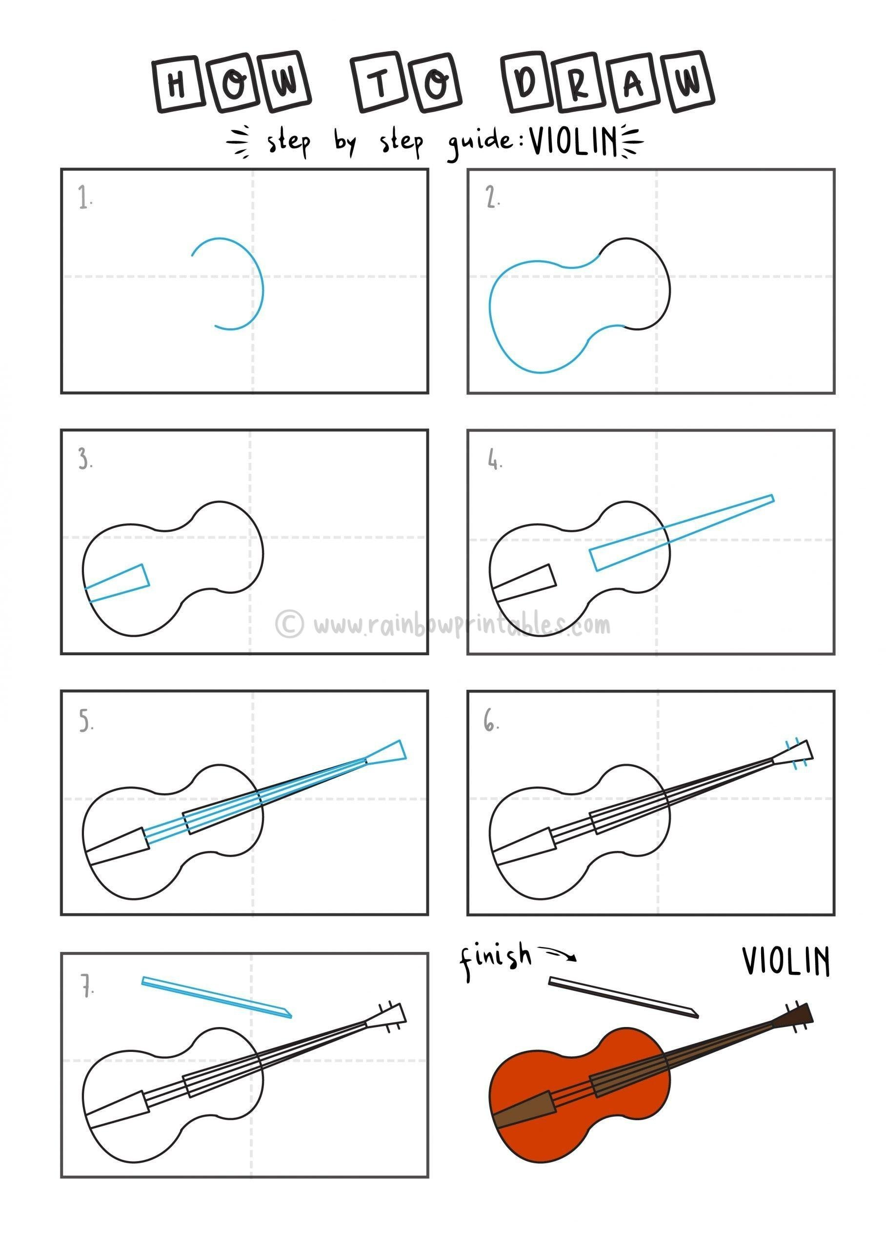 How To Draw VIOLIN By Step For Kids Easy Illustration Doodle Drawing GUIDE MUSICAL INSTRUMENT (2)