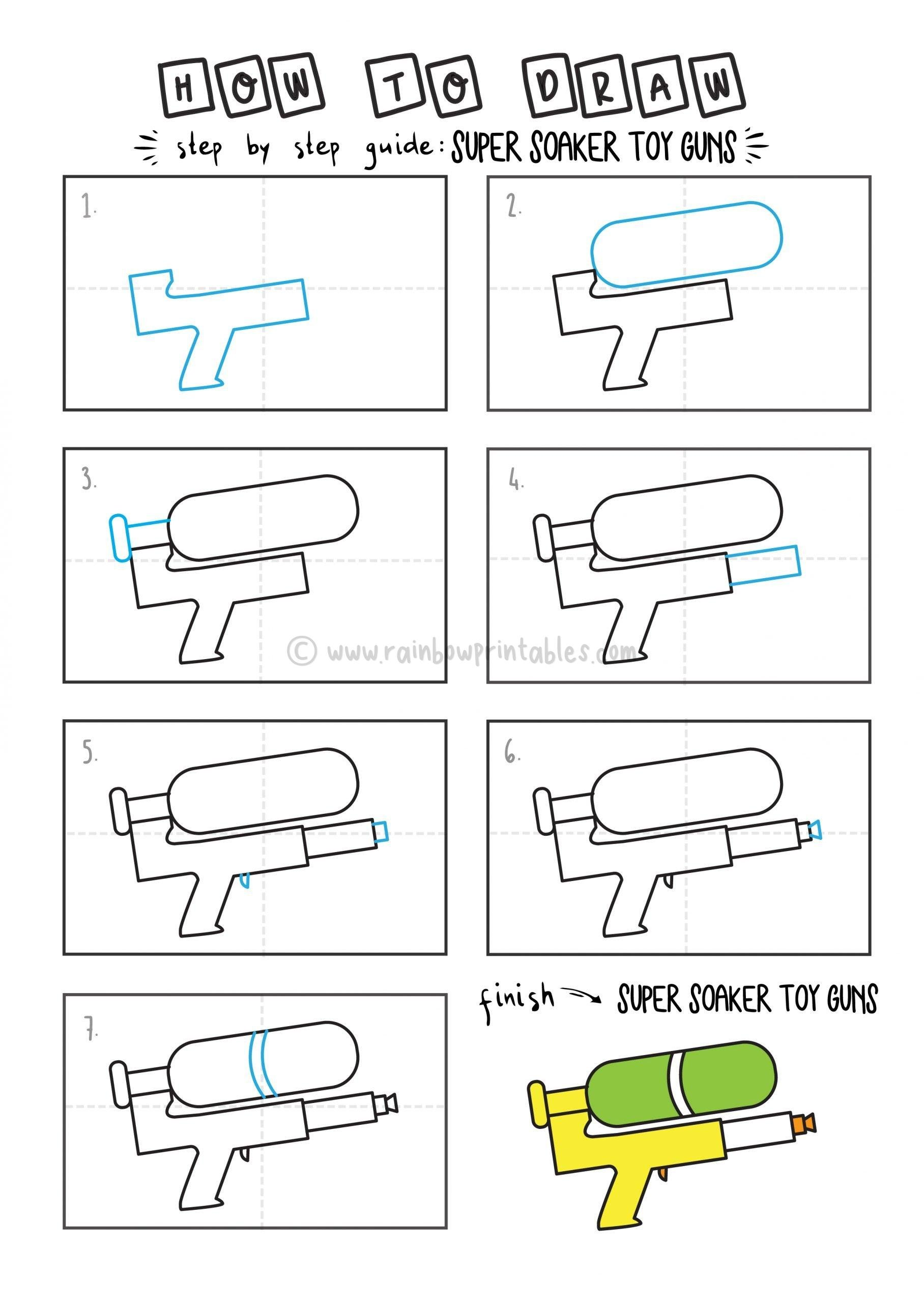 How To Draw WATER GUN SUPER SOAKER By Step For Kids Easy Illustration Doodle Drawing GUIDE2