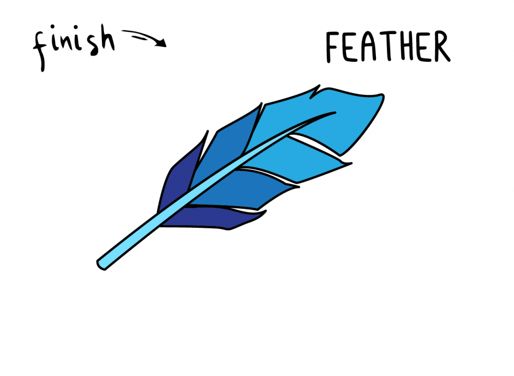 How To Draw a BLUE BIRD FEATHER Step By Step Easy Simple Drawing Guide for Kids FINAL