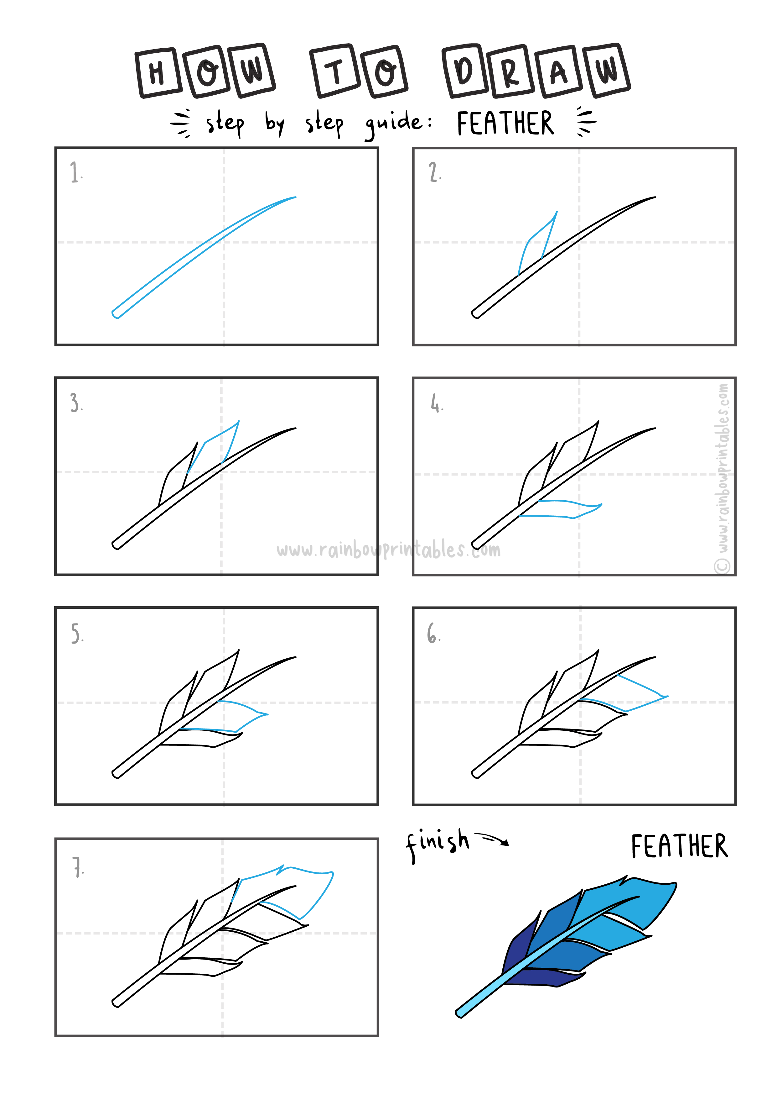 How To Draw a BLUE BIRD FEATHER Step By Step Easy Simple Drawing Guide for Kids