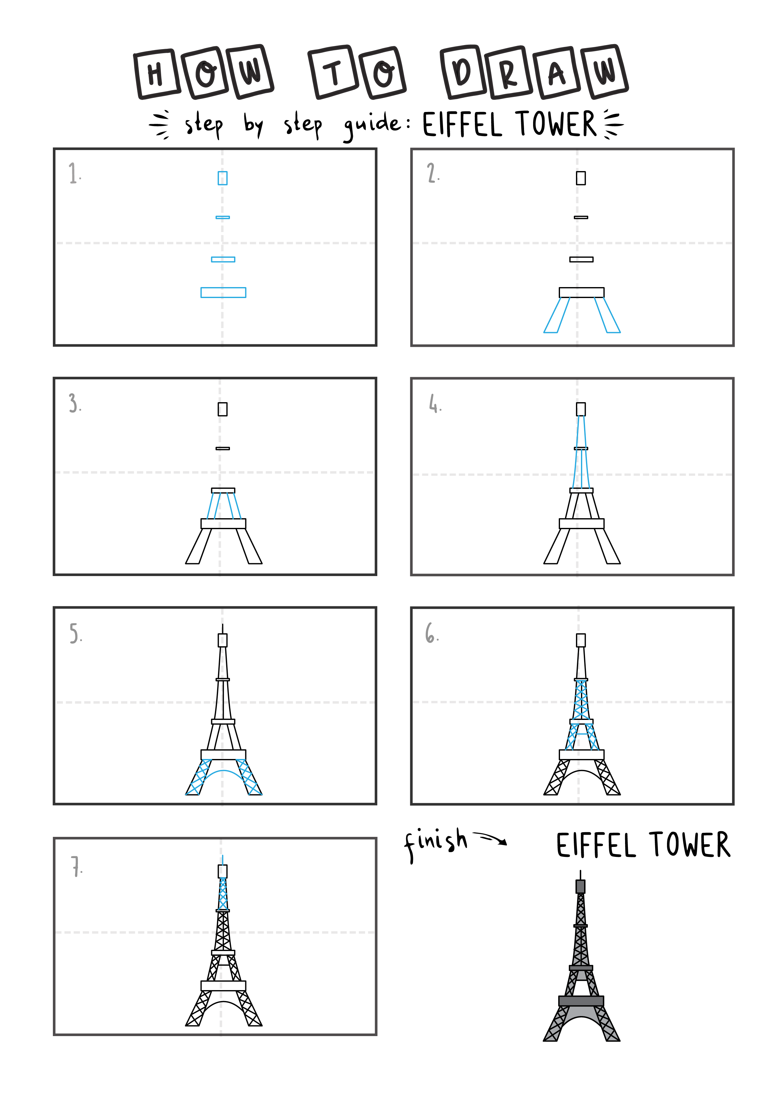 How To Draw a EIFFEL TOWER Easy Step By Step For Kids Illustration Art Ideas