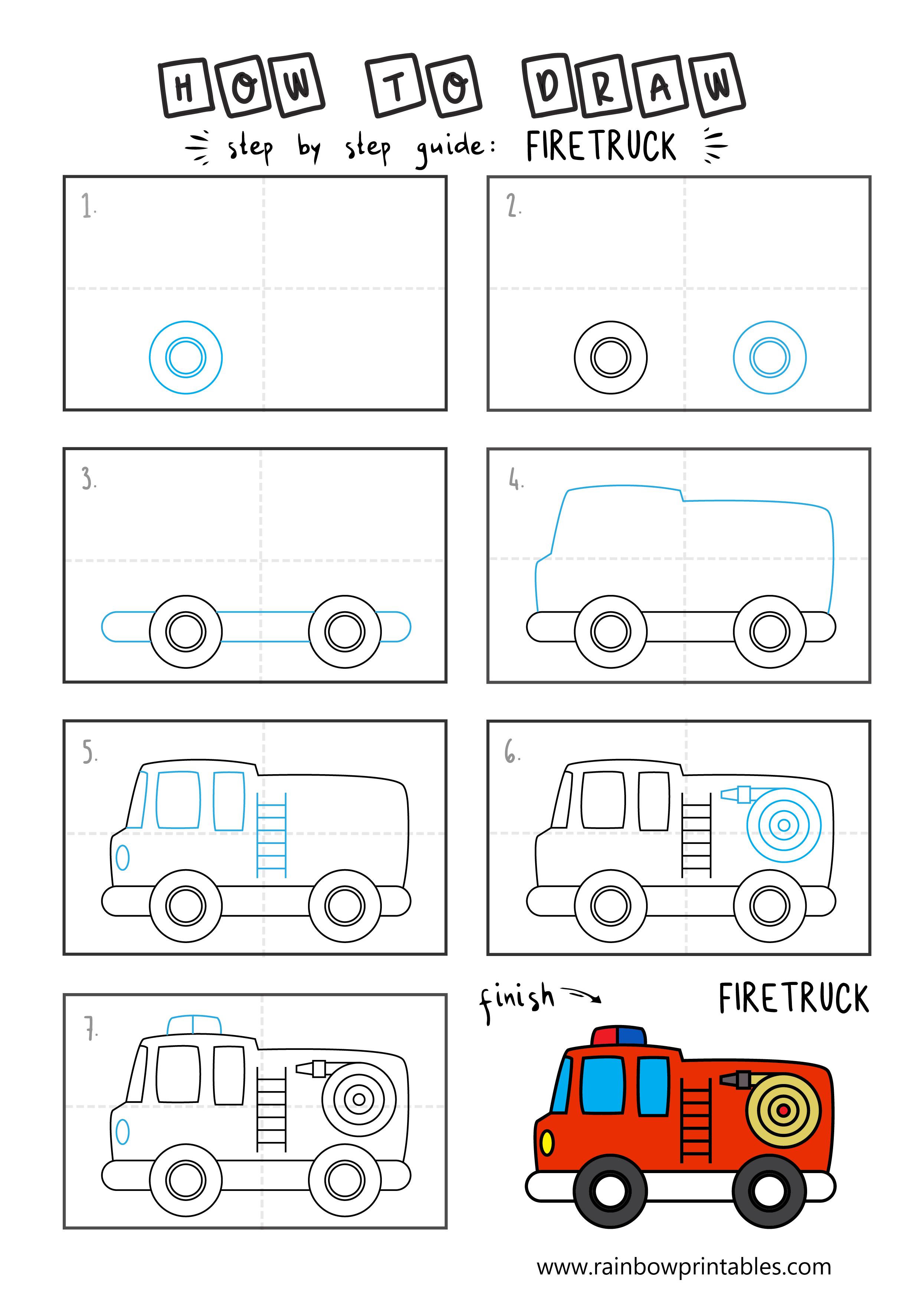 How To Draw a Fire TRUCKS Easy Step By Step For Kids Illustration Art Ideas